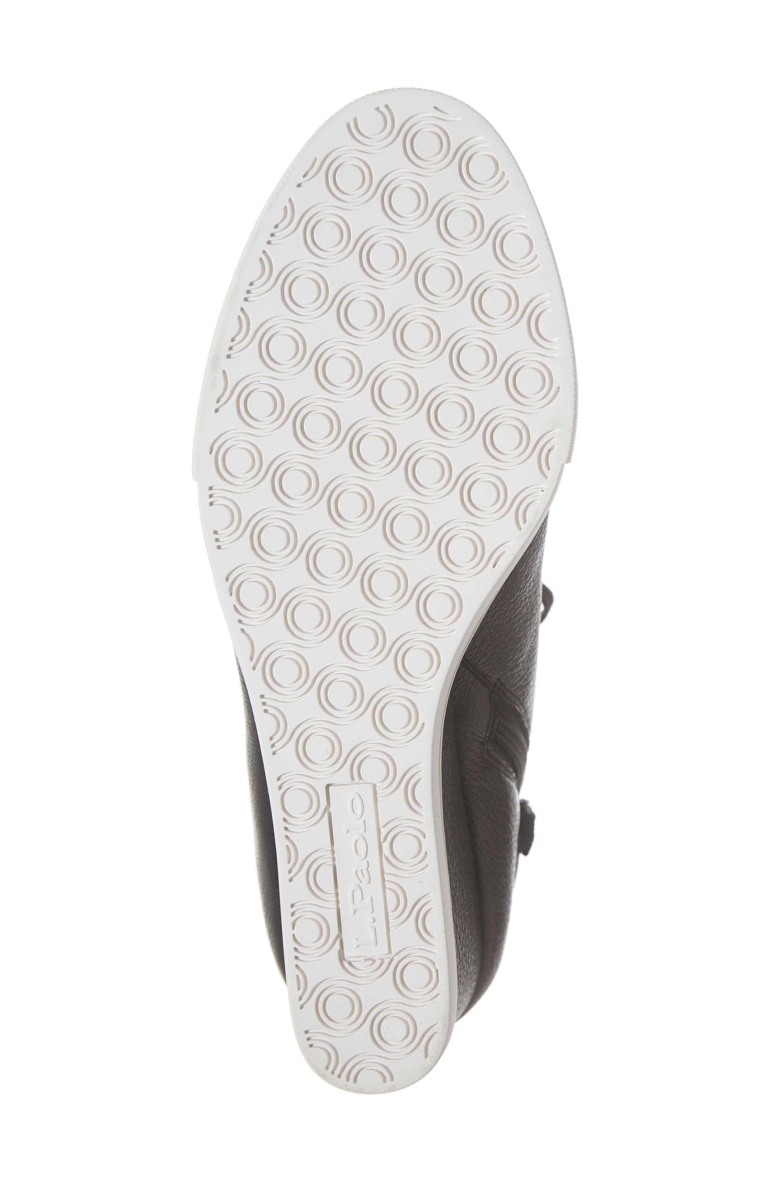 LINEA PAOLO, Fenton Wedge Sneaker, Alternate thumbnail 6, color, BLACK TUMBLED LEATHER