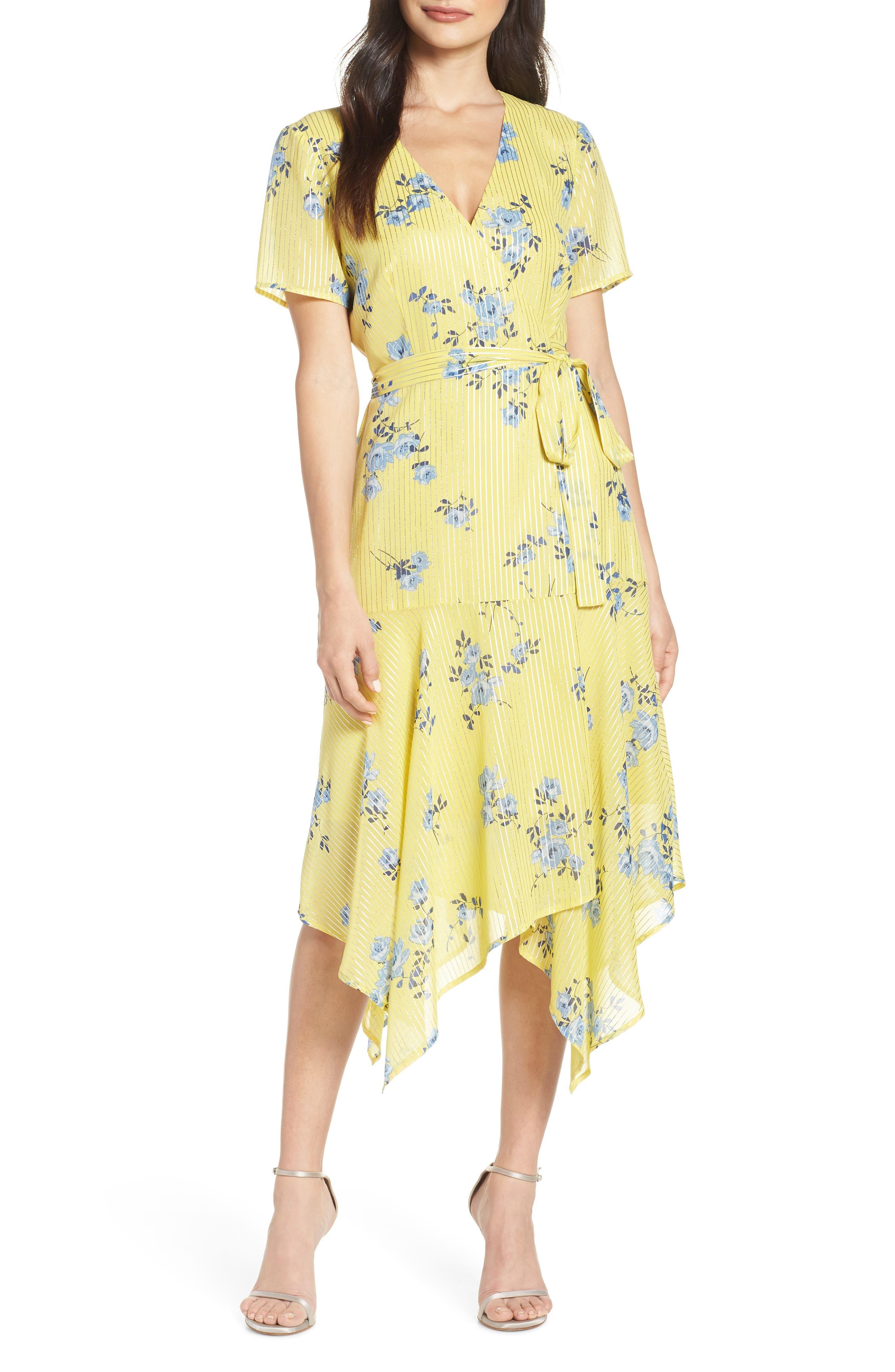 Charles Henry Handkerchief Hem Wrap Dress, Yellow