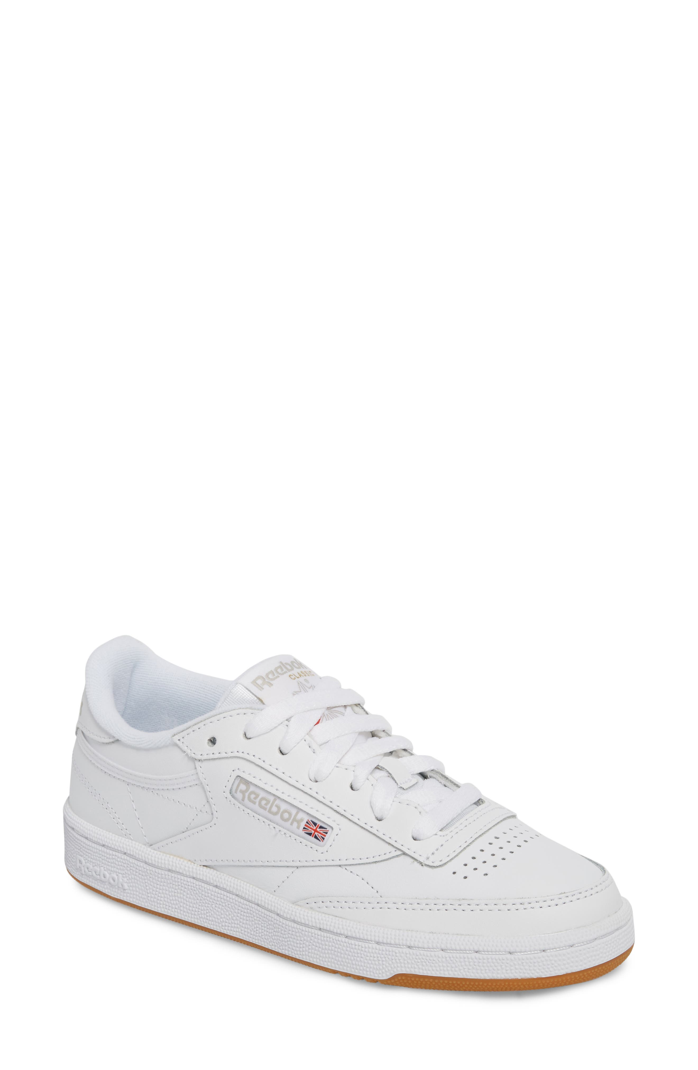 REEBOK, Club C 85 Sneaker, Main thumbnail 1, color, WHITE/ LIGHT GREY/ GUM