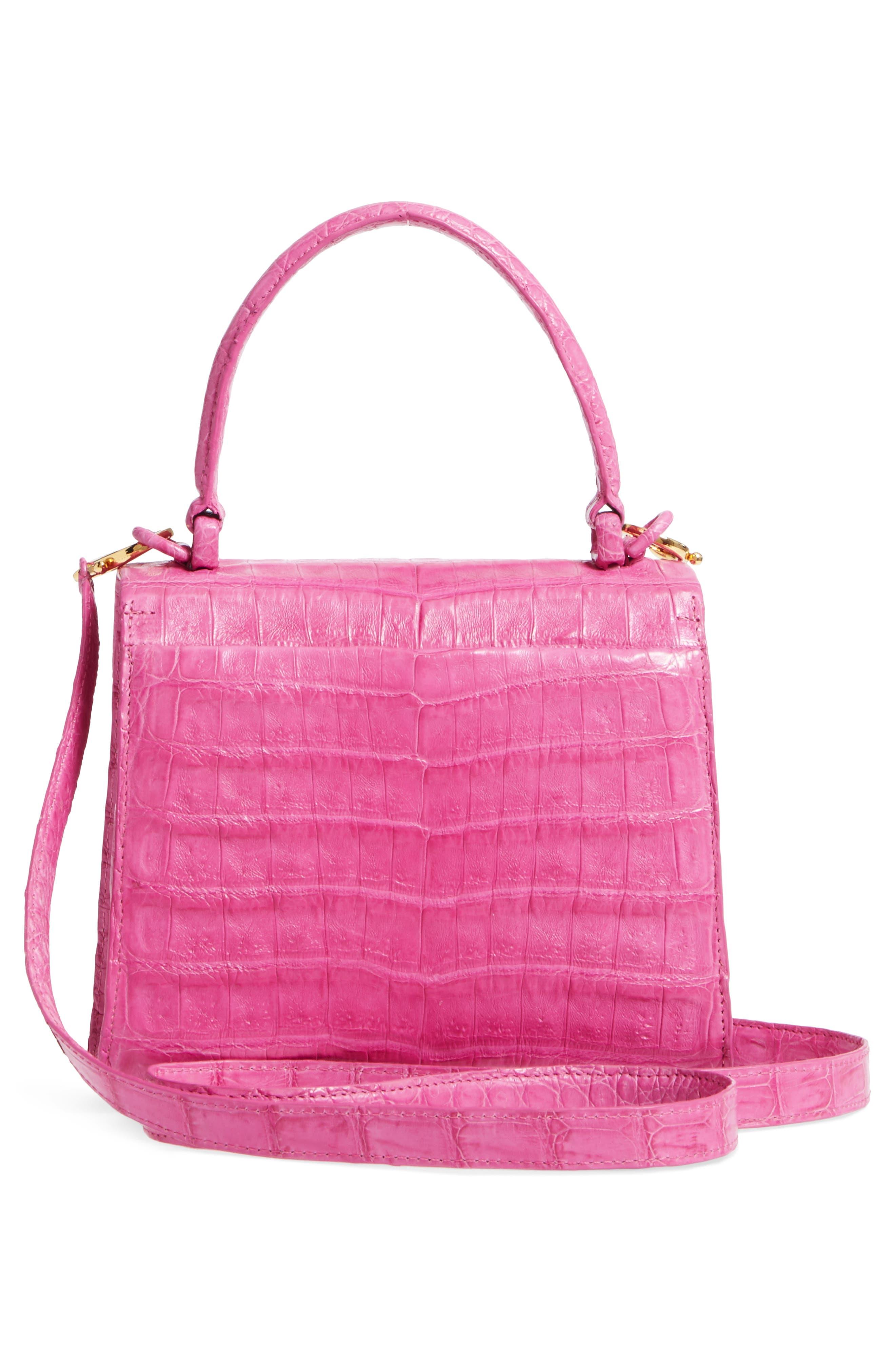 NANCY GONZALEZ, Mini Lily Genuine Crocodile Crossbody Bag, Alternate thumbnail 3, color, PINK MATTE