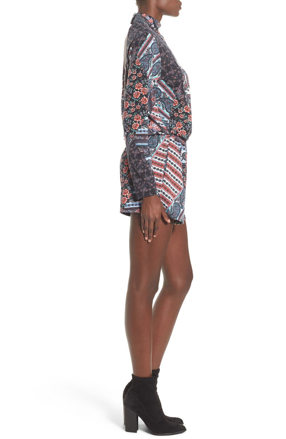 MIMI CHICA, Long Sleeve Mixed Print Romper, Alternate thumbnail 3, color, 020