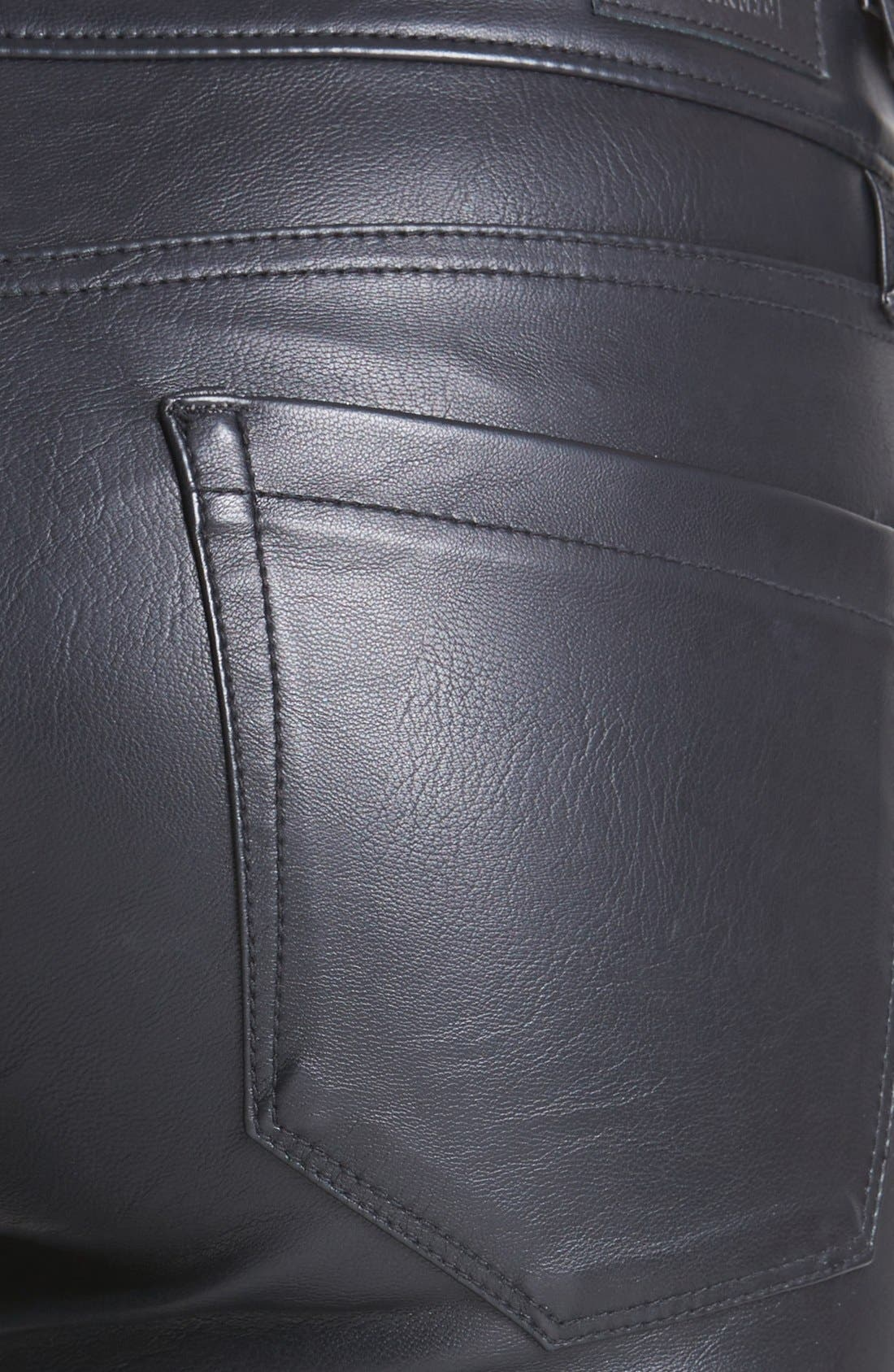 BLANKNYC, Faux Leather Skinny Pants, Alternate thumbnail 3, color, 005