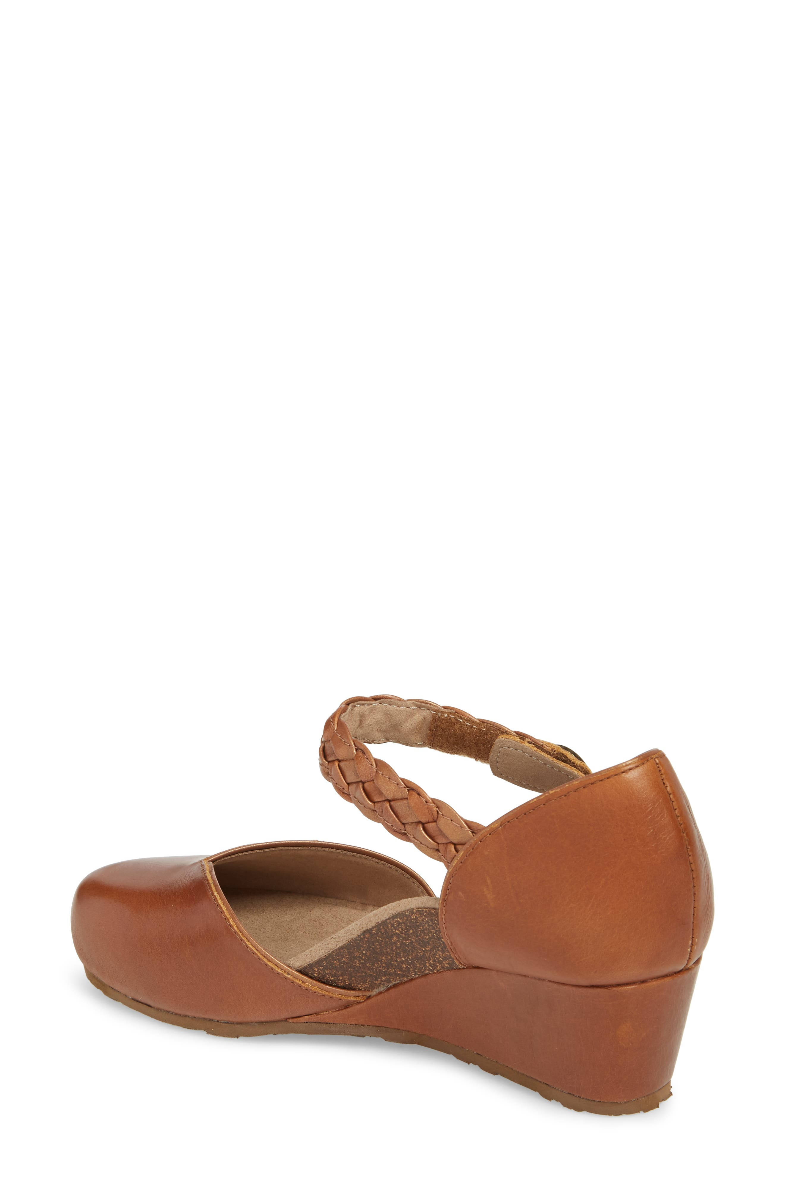 AETREX, 'Mia' Braid Strap Wedge, Alternate thumbnail 2, color, COGNAC LEATHER