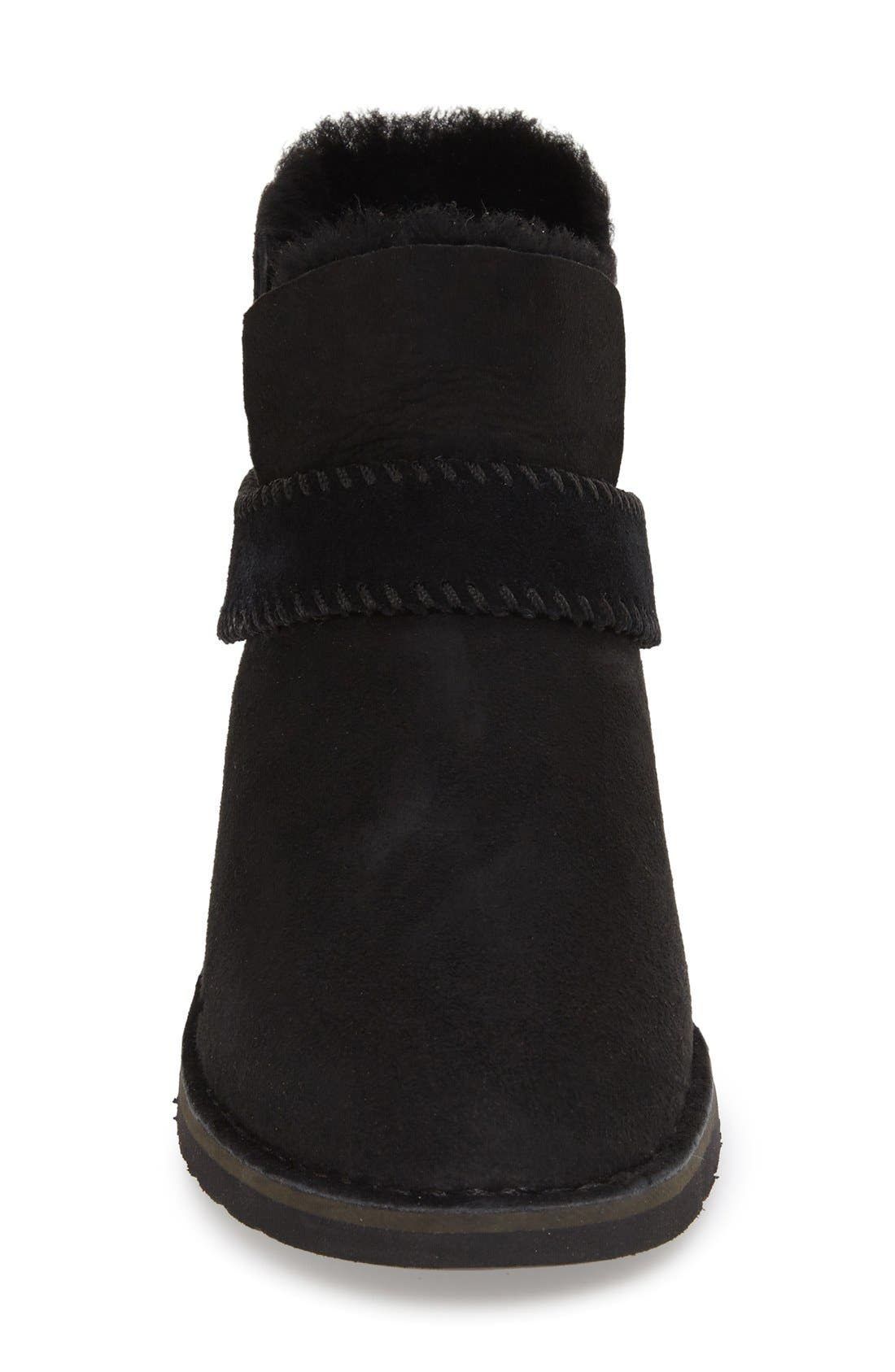 UGG<SUP>®</SUP>, McKay Water Resistant Bootie, Alternate thumbnail 3, color, BLACK SUEDE