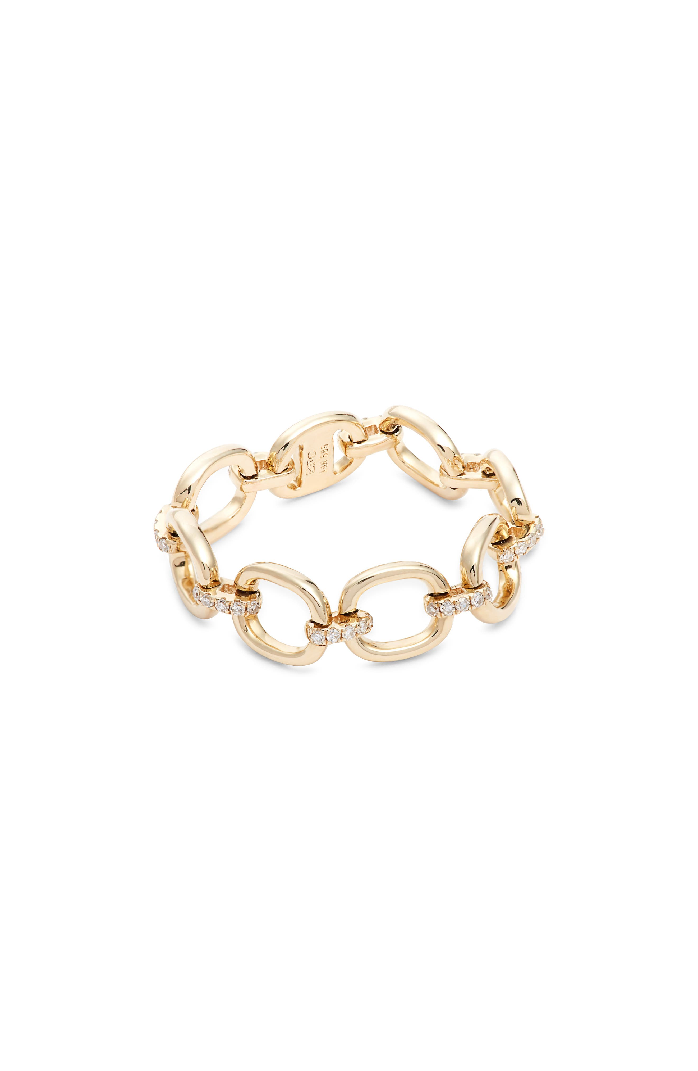 EF COLLECTION, Diamond Chain Link Ring, Main thumbnail 1, color, YELLOW GOLD