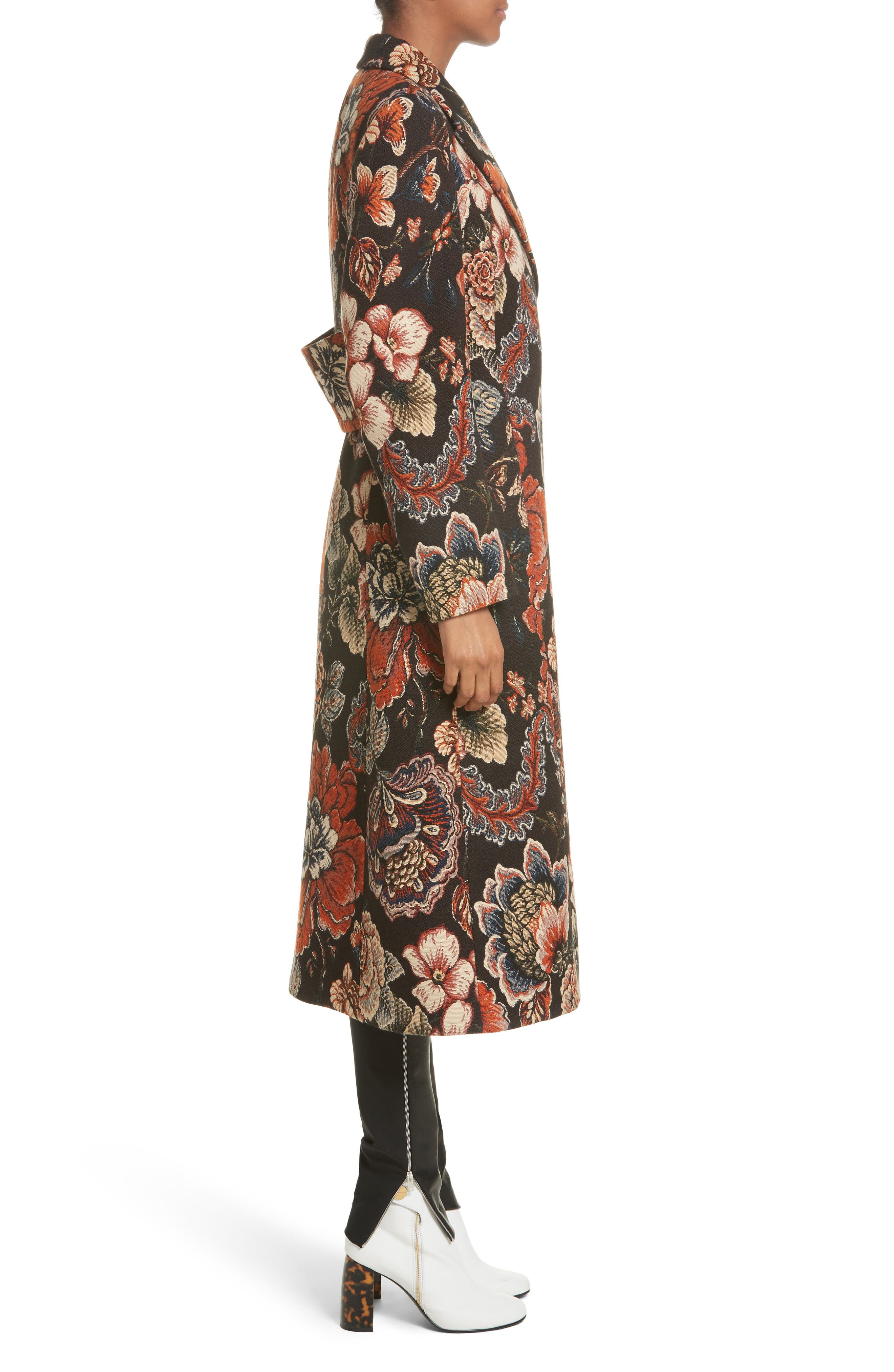 STELLA MCCARTNEY, Floral Tapestry Long Coat, Alternate thumbnail 3, color, 960