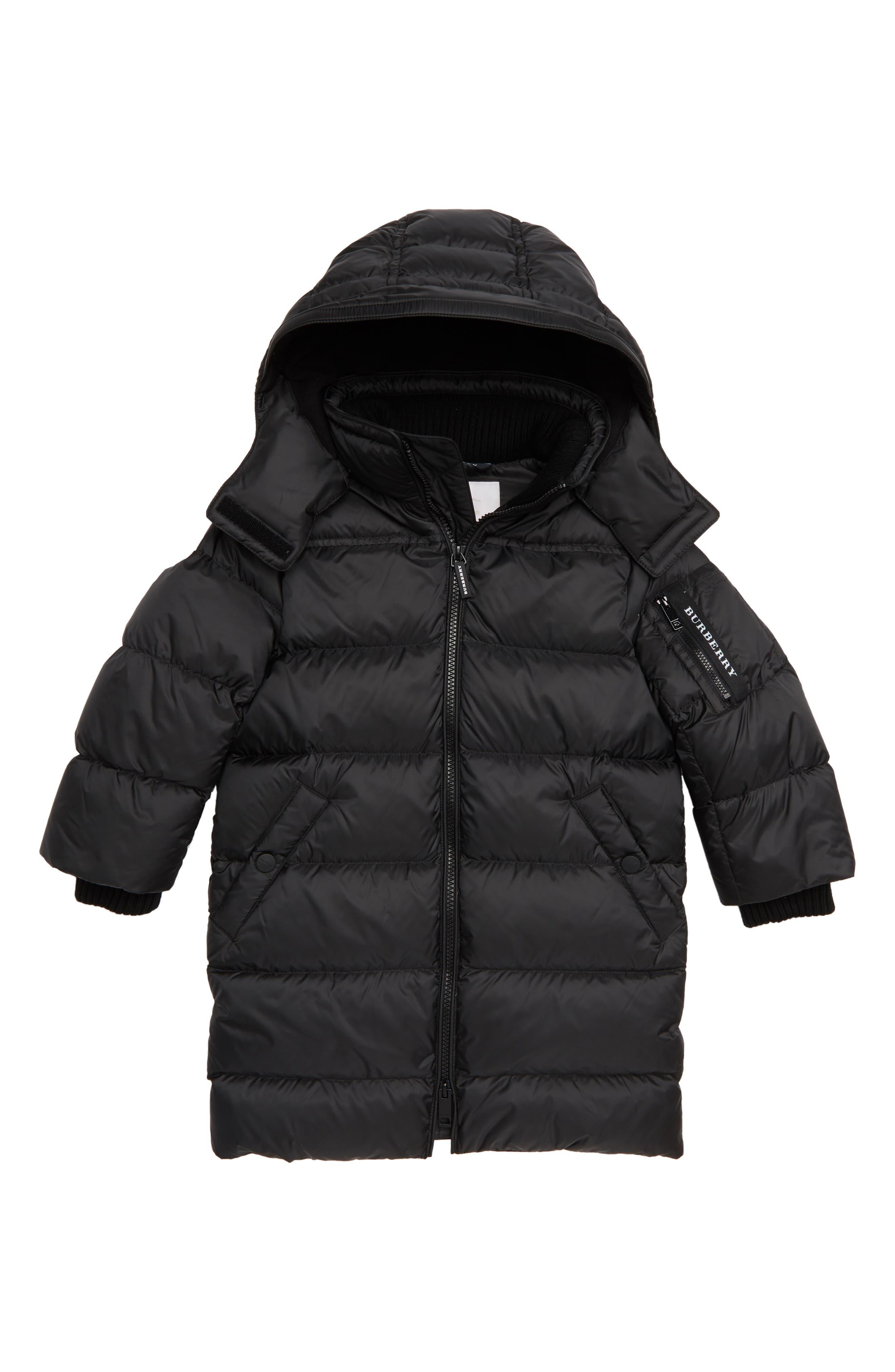 BURBERRY Waterproof Down Puffer Coat, Main, color, 001