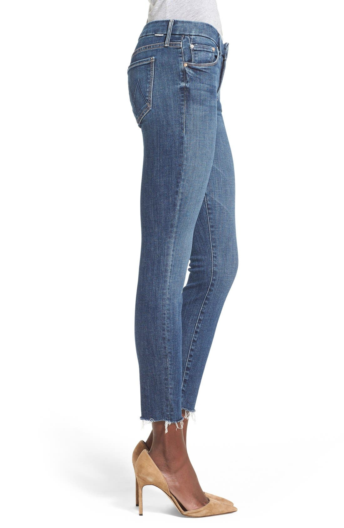 MOTHER, 'TheLooker'Frayed Ankle Jeans, Alternate thumbnail 6, color, 417