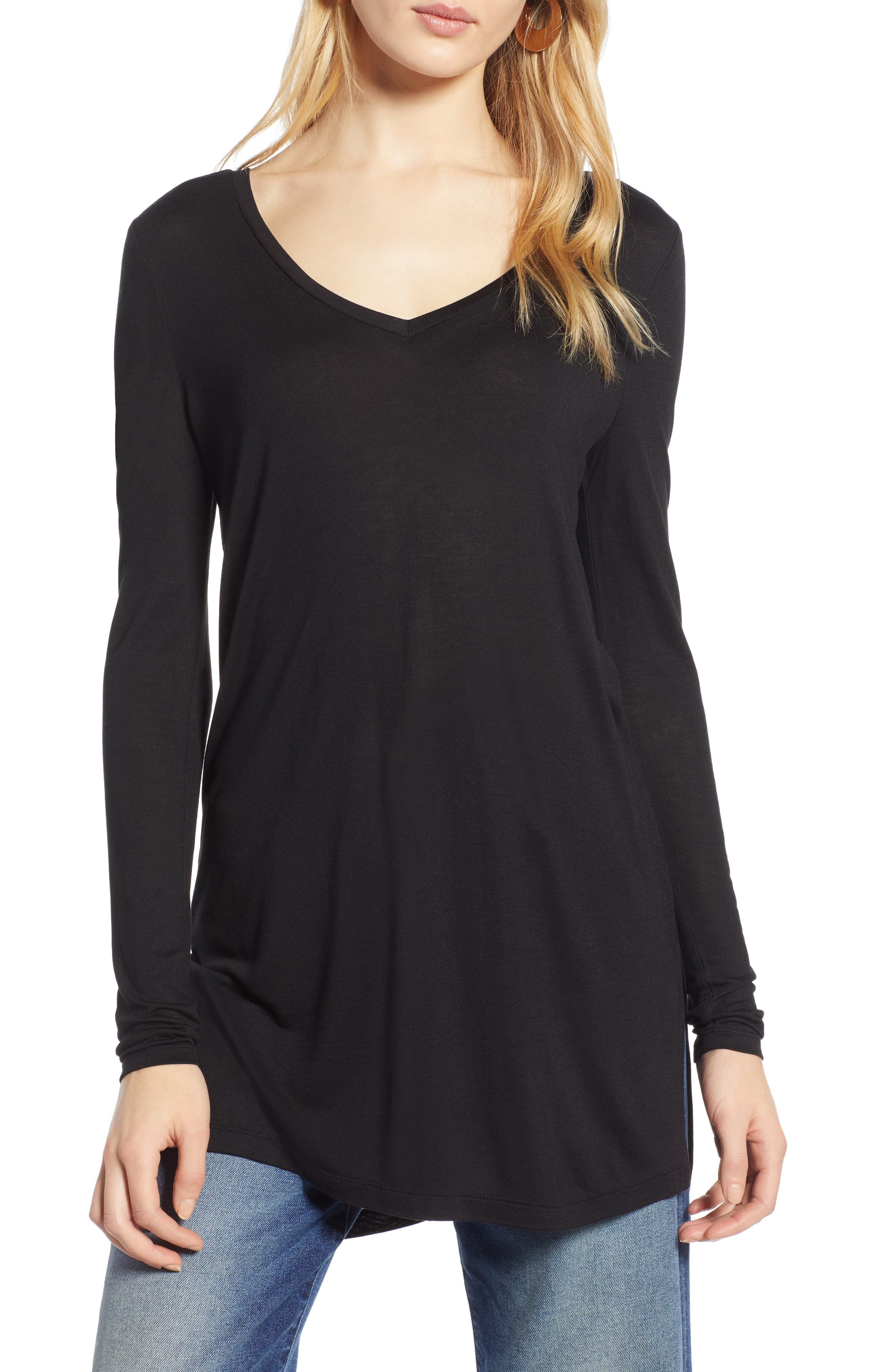HALOGEN<SUP>®</SUP>, Long Sleeve Lightweight Tunic, Alternate thumbnail 2, color, 001