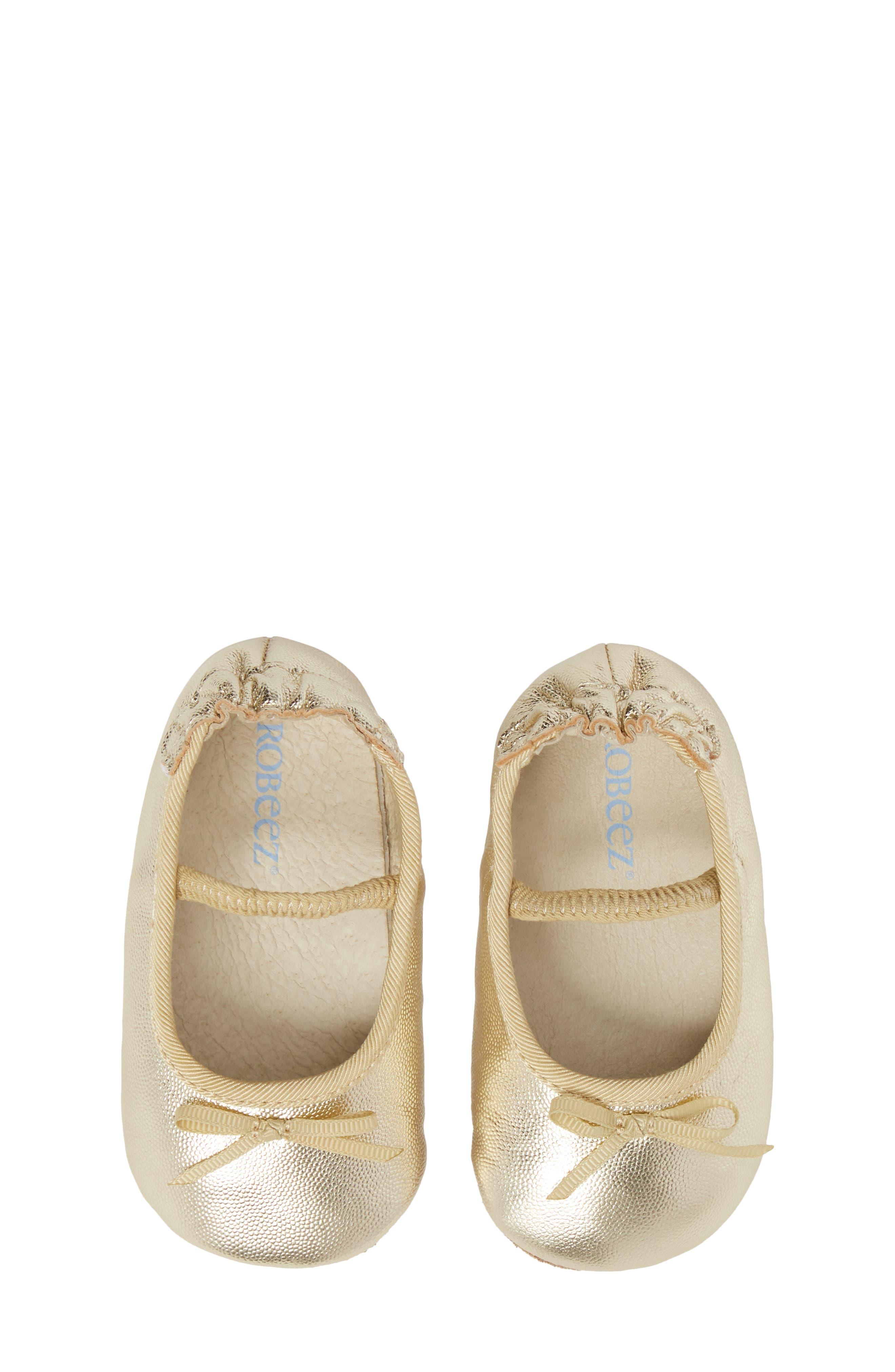 ROBEEZ<SUP>®</SUP>, Athena Ballet Strap Crib Shoe, Alternate thumbnail 5, color, GOLD