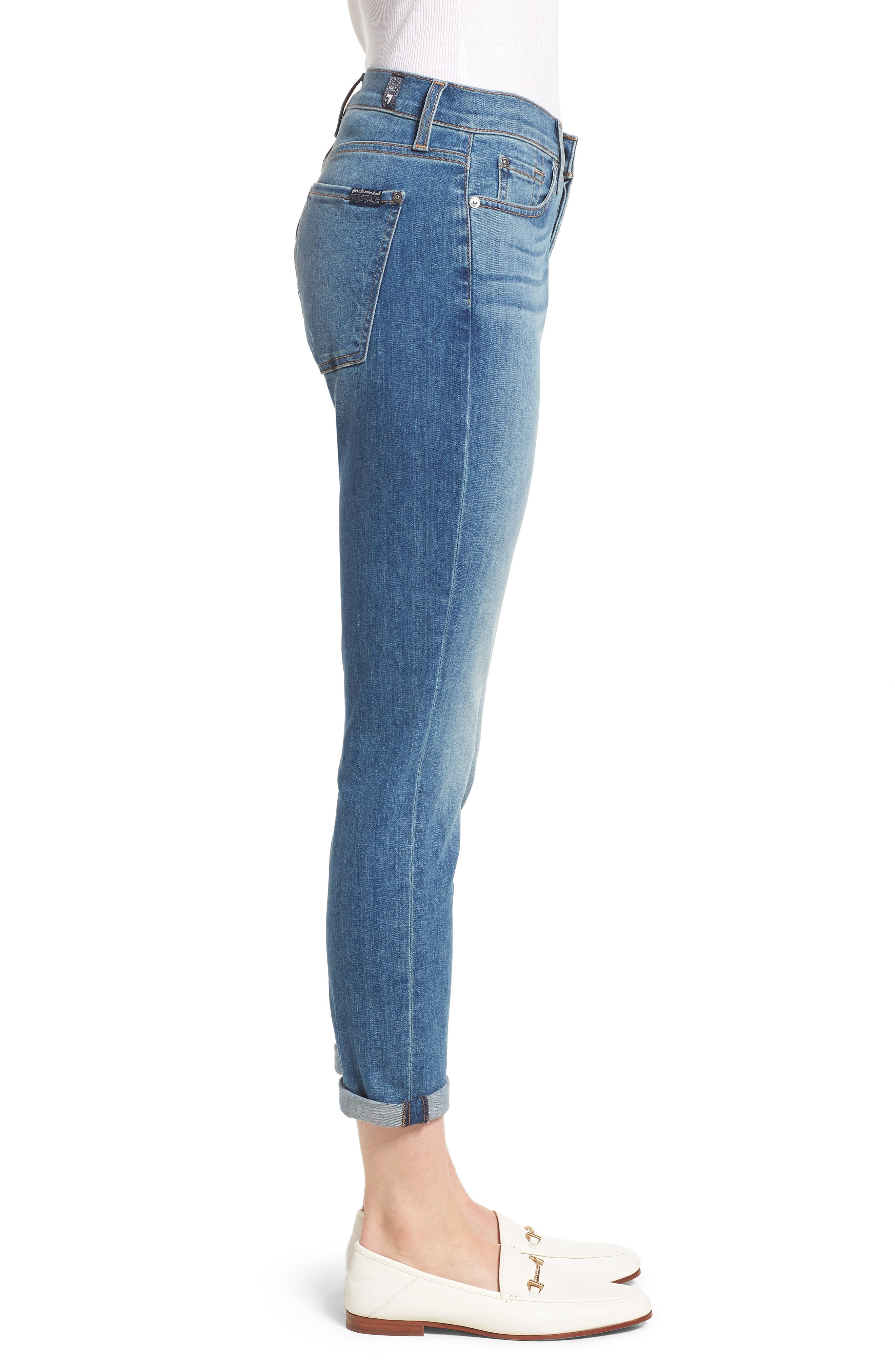 7 FOR ALL MANKIND<SUP>®</SUP>, Josefina Crop Boyfriend Jeans, Alternate thumbnail 4, color, GILDED DAWN