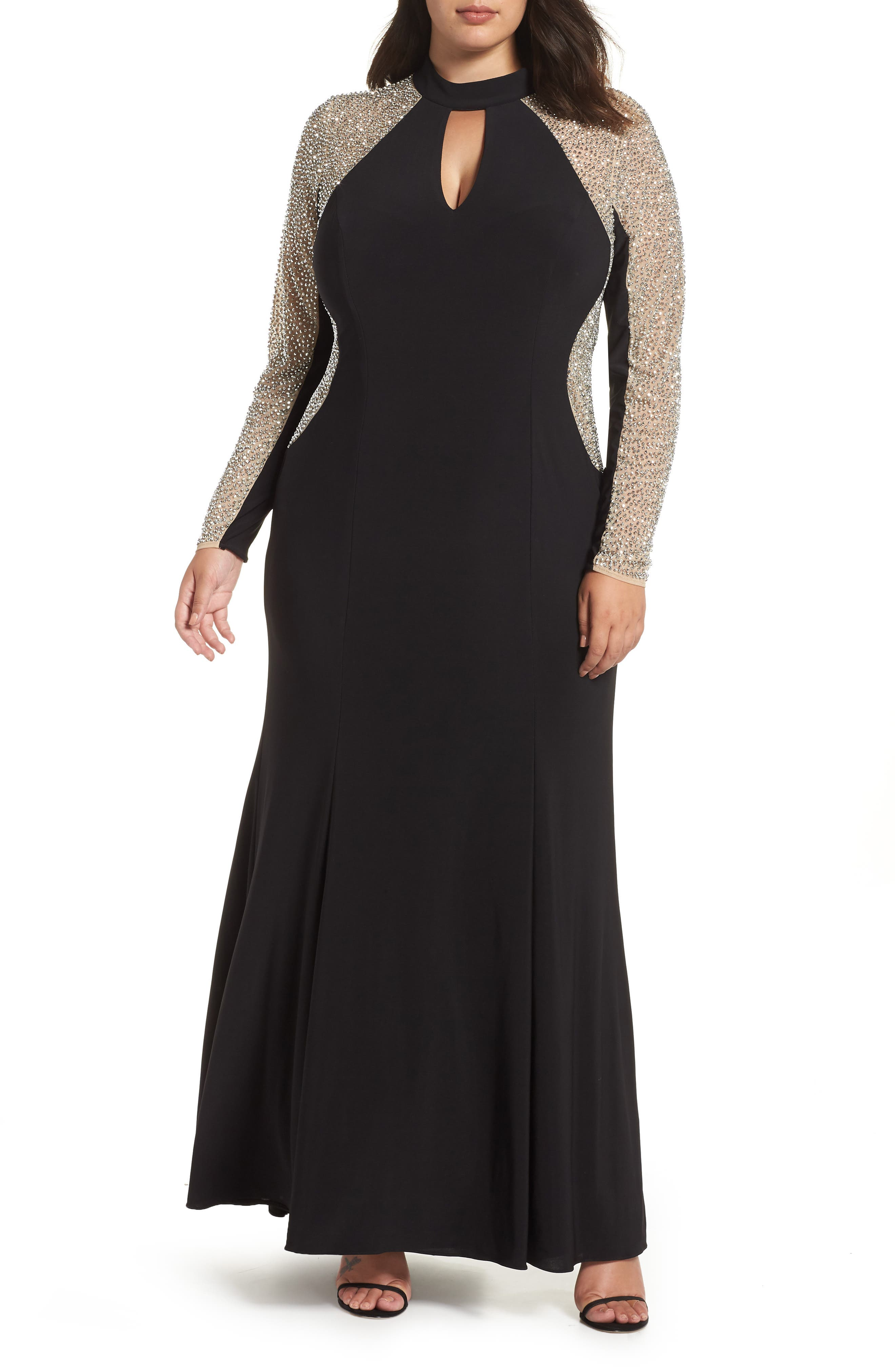 XSCAPE, Beaded A-Line Gown, Main thumbnail 1, color, BLACK/ NUDE/ SILVER
