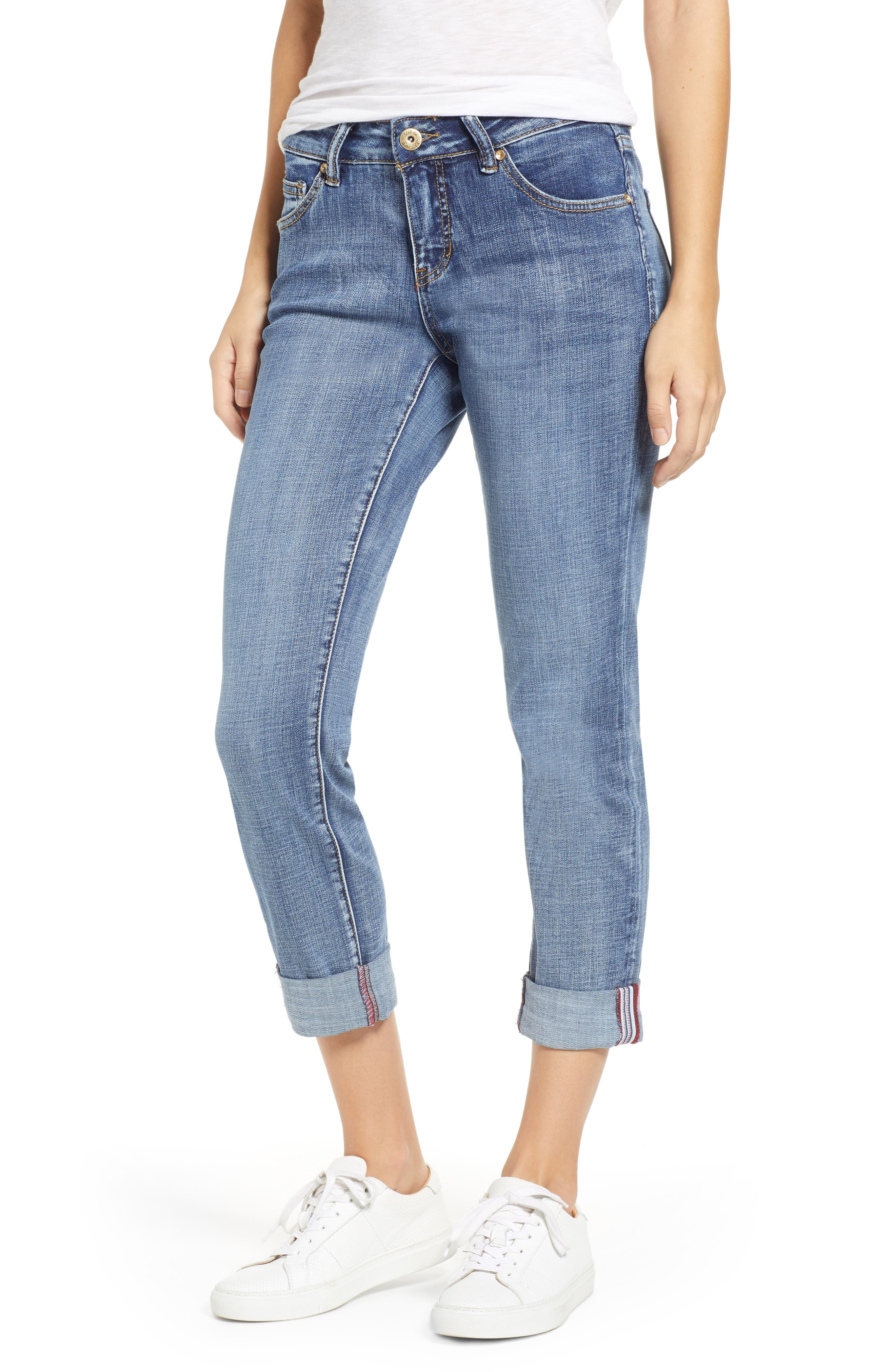 JAG JEANS Carter Girlfriend Jeans, Main, color, MED INDIGO
