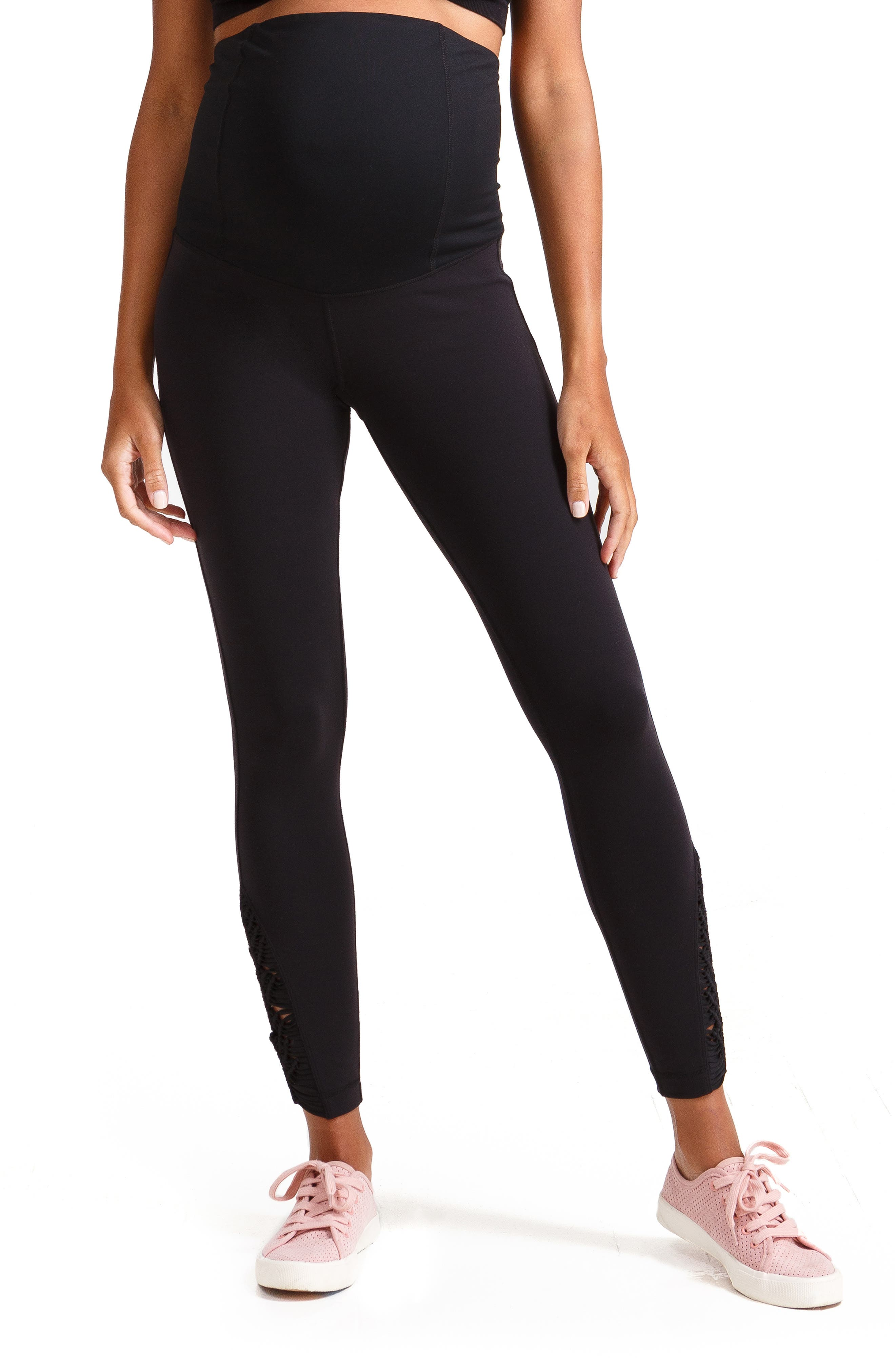 INGRID & ISABEL<SUP>®</SUP>, Active Maternity Leggings with Macramé Detail, Main thumbnail 1, color, JET BLACK