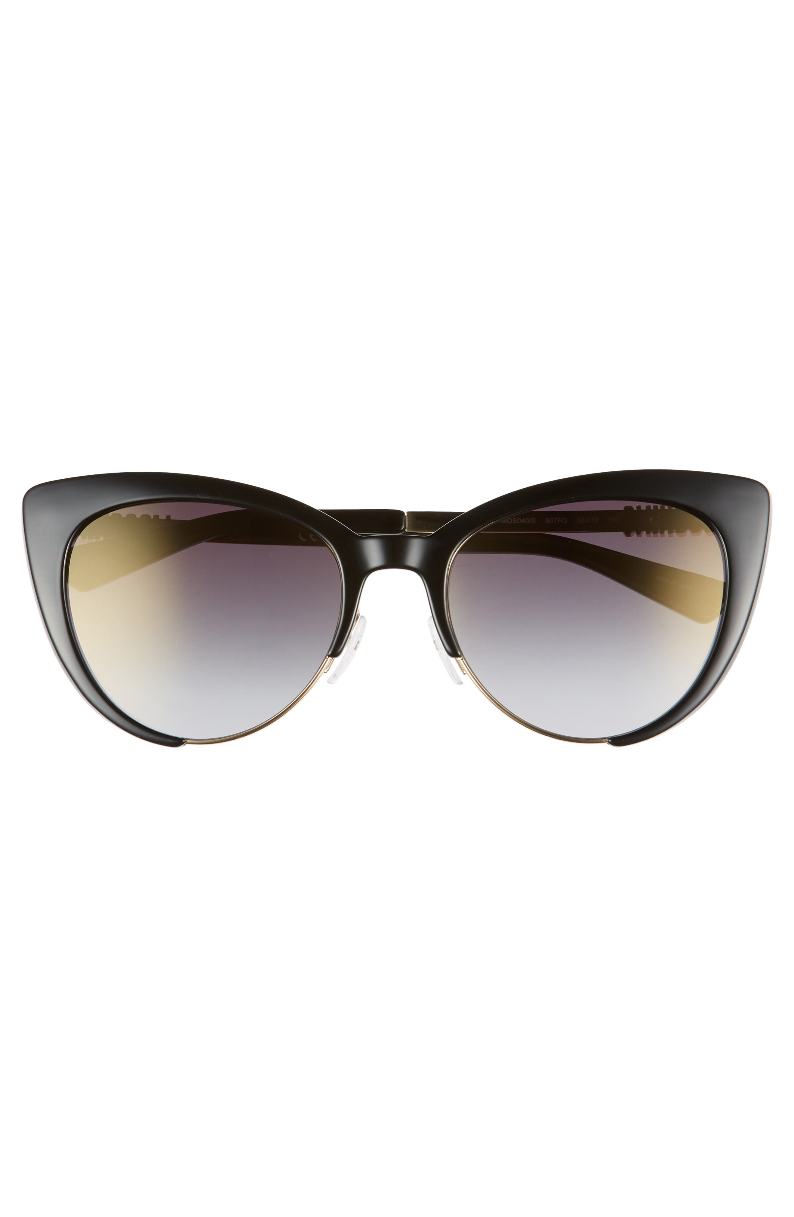MOSCHINO, 55mm Cat Eye Sunglasses, Alternate thumbnail 3, color, BLACK