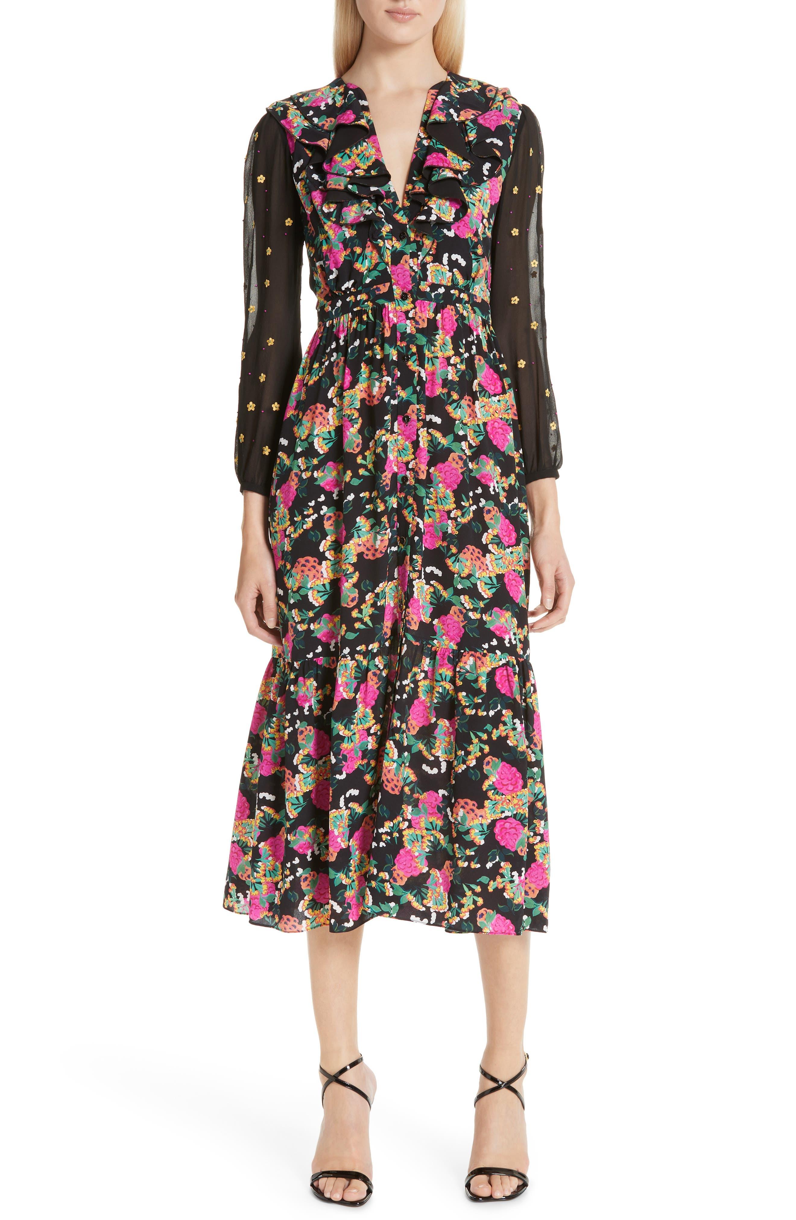 SALONI, Ginny Silk Midi Dress, Main thumbnail 1, color, HYDRANGEA/ EMBELLISHMENT