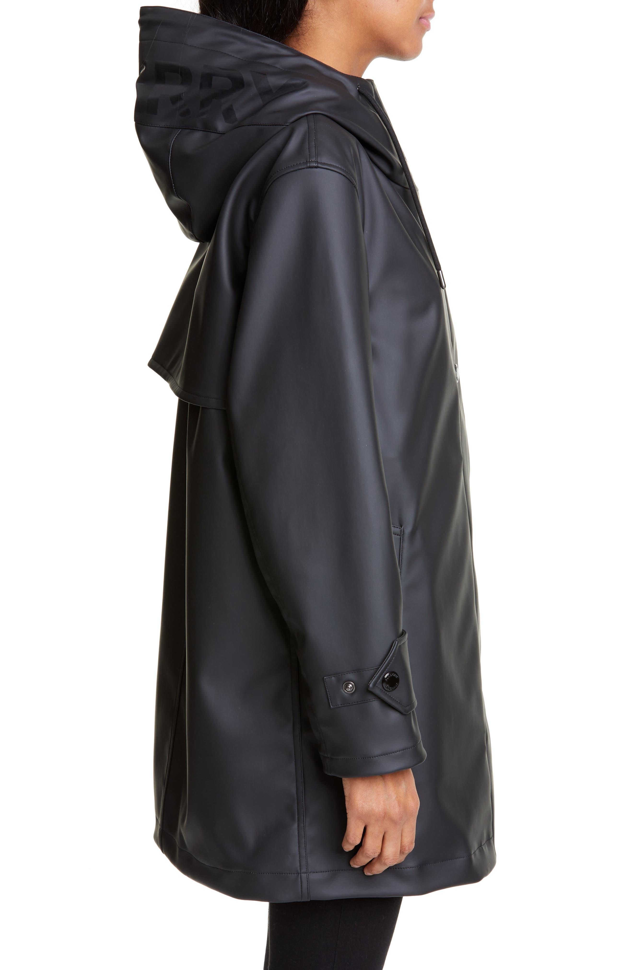BURBERRY, Hartlebury Coated Rain Coat, Alternate thumbnail 3, color, BLACK / WHITE