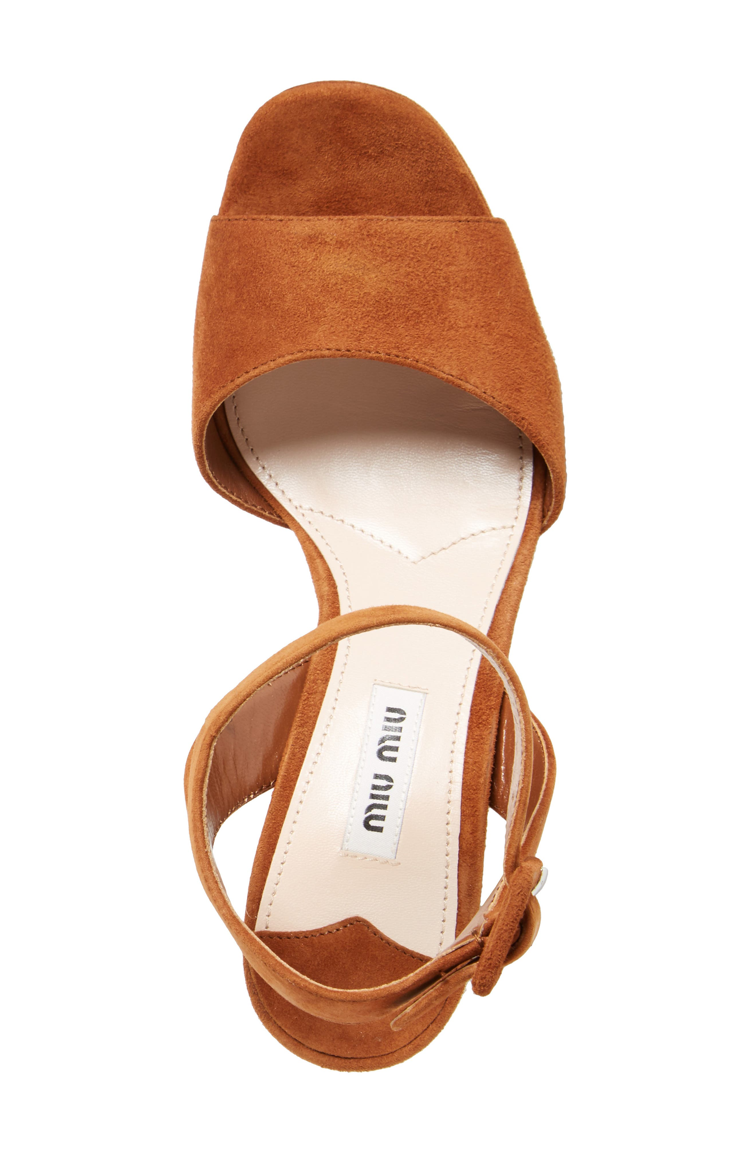 MIU MIU, 'Sandali' Ankle Strap Sandal, Alternate thumbnail 5, color, 200