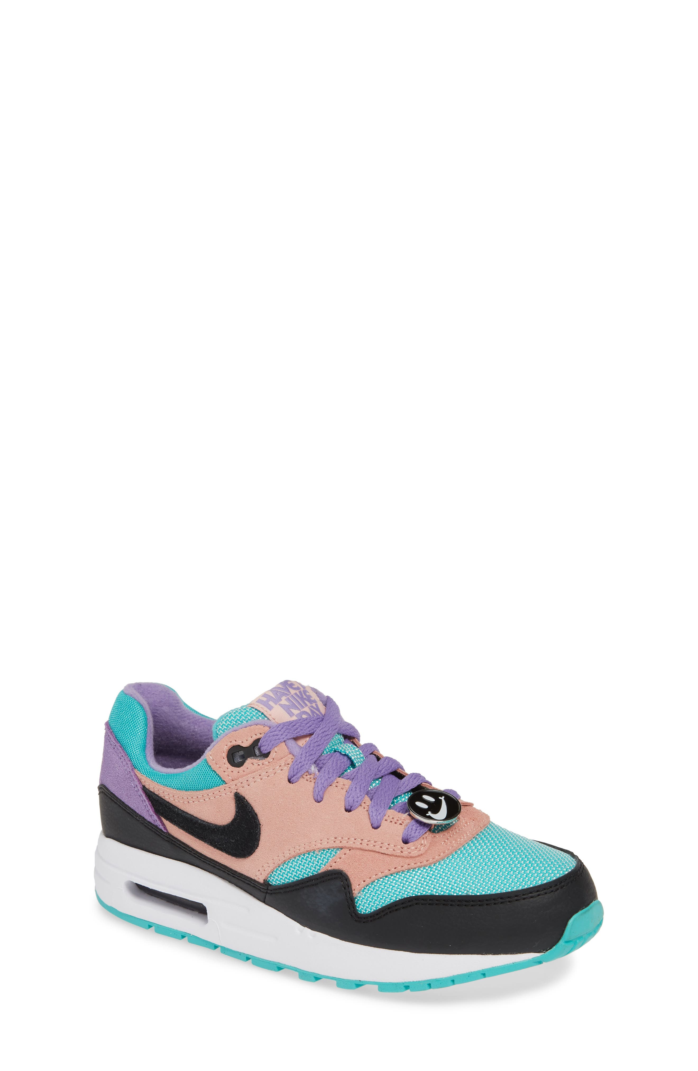 NIKE, Air Max 1 Have a Nike Day Sneaker, Main thumbnail 1, color, BLACK/ WHITE