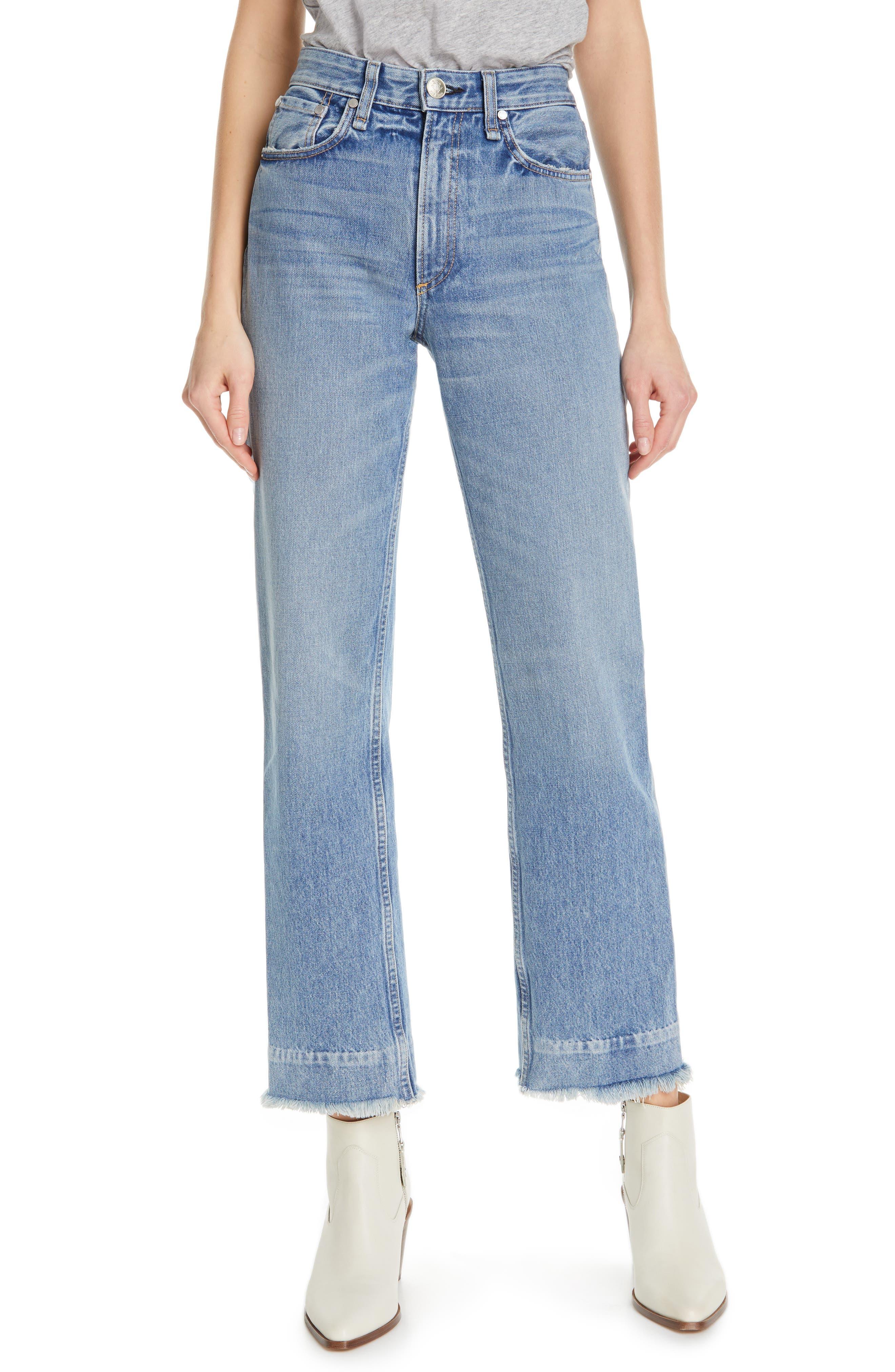 RAG & BONE, Ruth Super High Waist Straight Leg Jeans, Main thumbnail 1, color, BABY