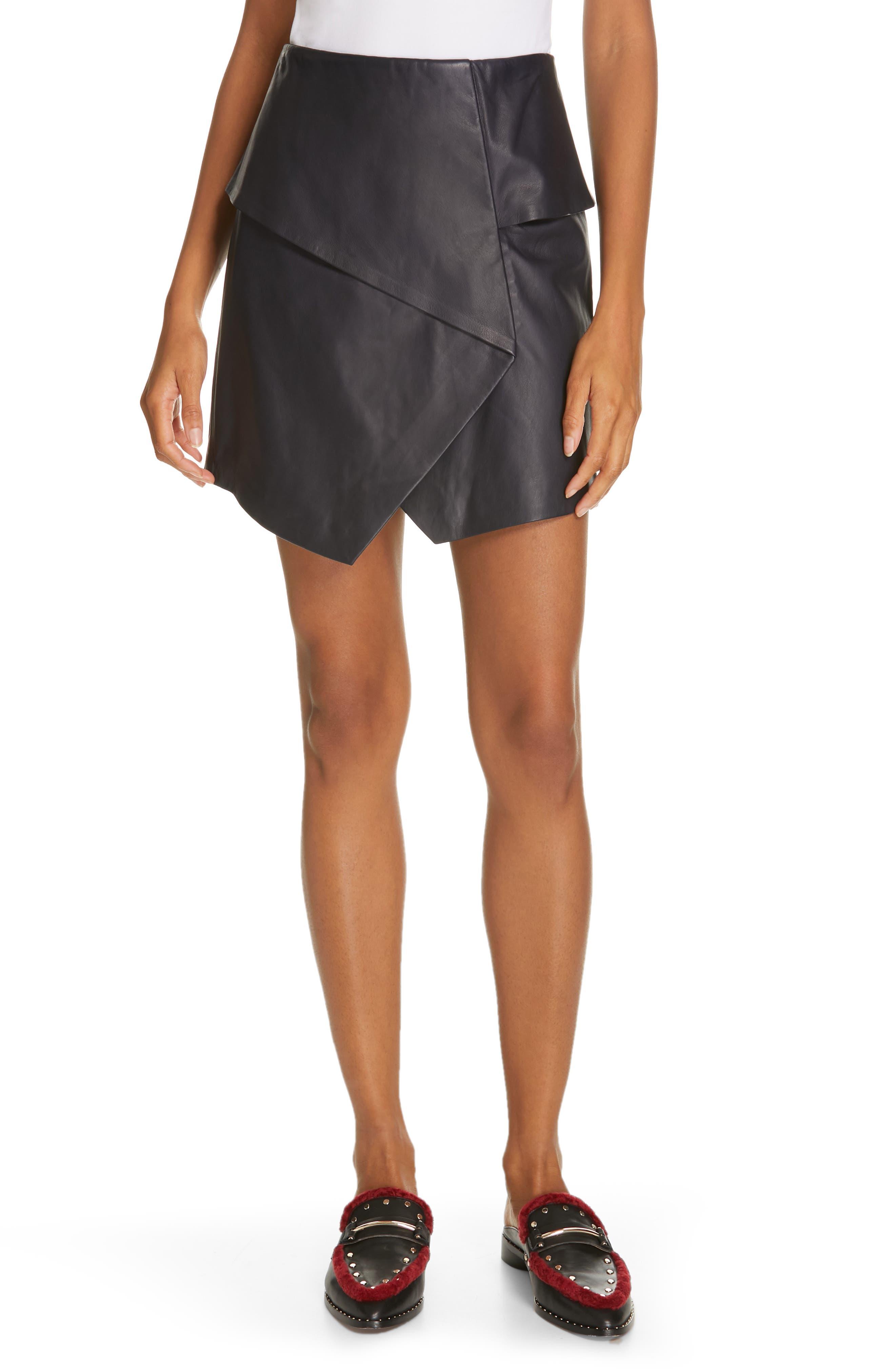 JOIE, Akirako Leather Miniskirt, Main thumbnail 1, color, MIDNIGHT