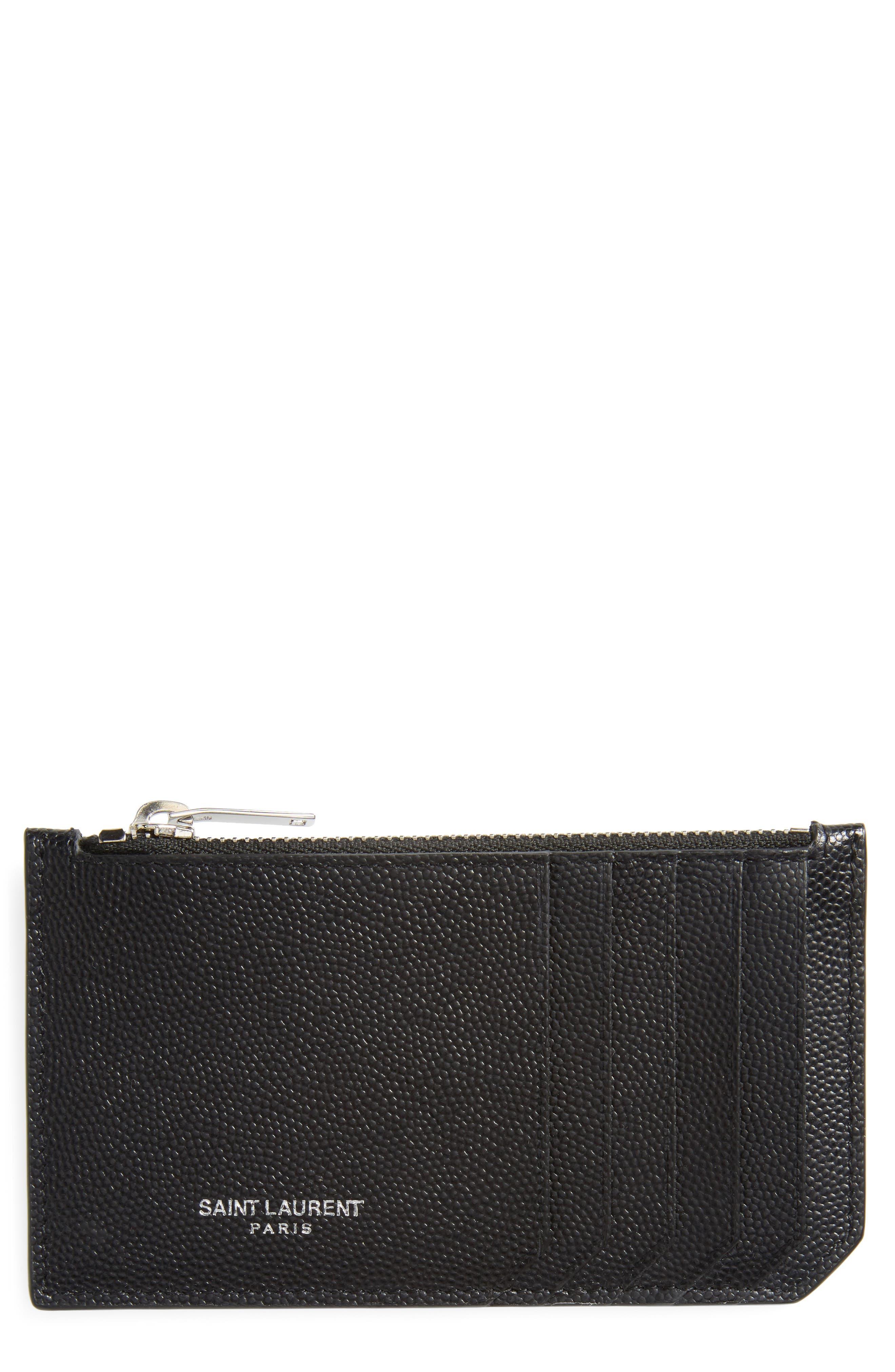 SAINT LAURENT, Pebble Grain Leather Zip Wallet, Main thumbnail 1, color, NERO