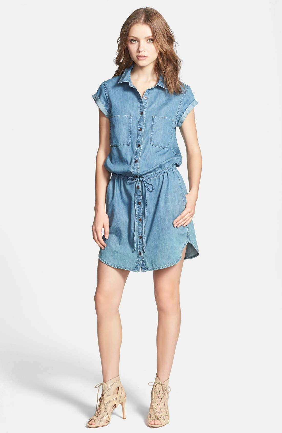PAIGE, Denim 'Mila' Denim Shirtdress, Main thumbnail 1, color, 400