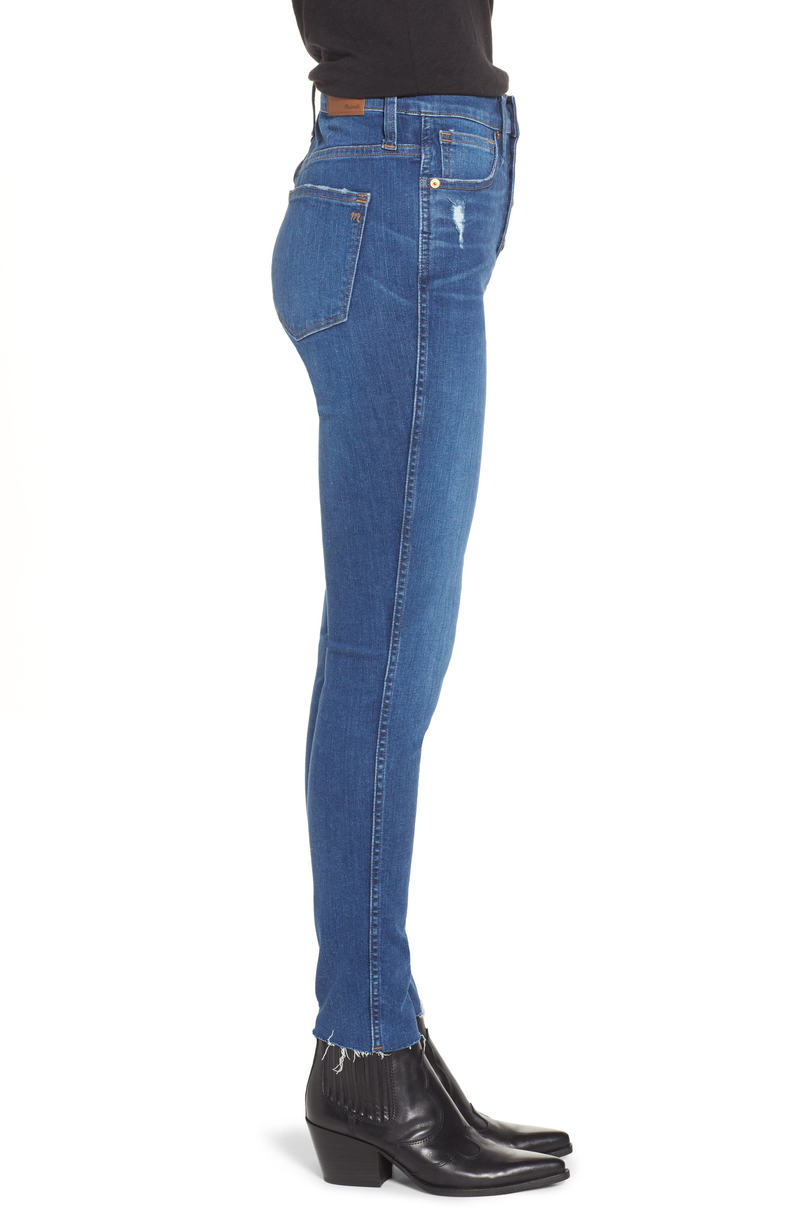 MADEWELL, 10-Inch High Rise Skinny Jeans, Alternate thumbnail 4, color, HANNA