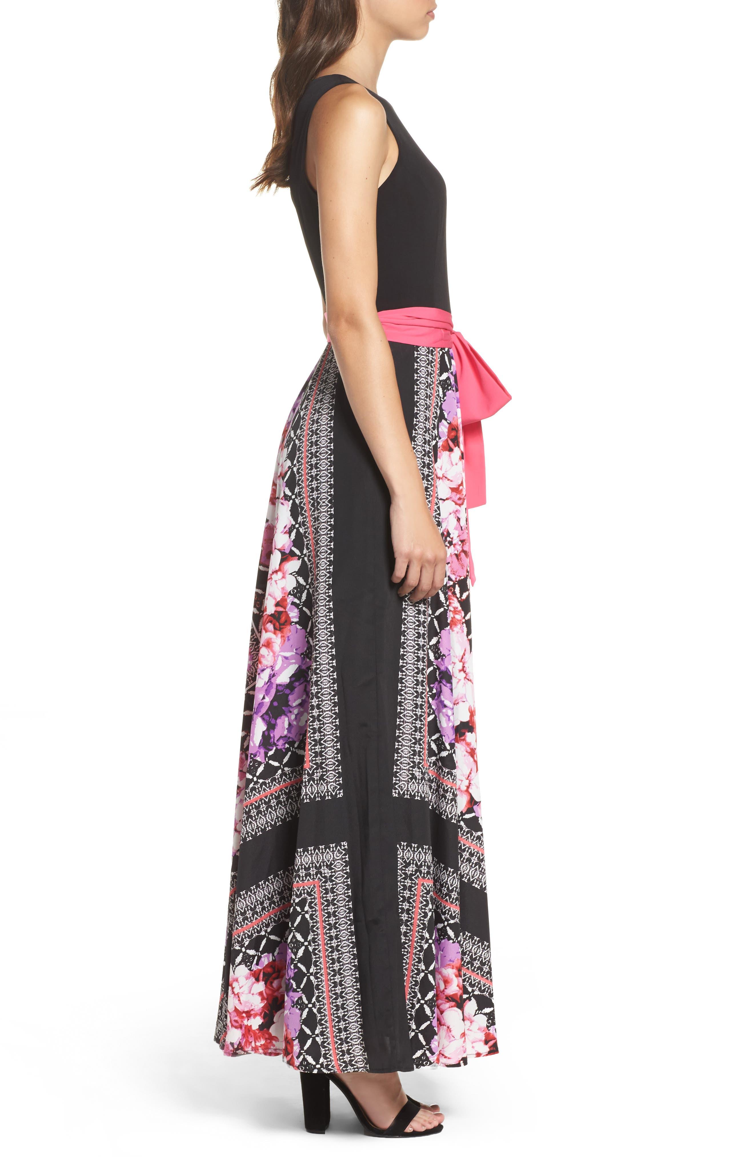 ELIZA J, Scarf Print Jersey & Crêpe de Chine Maxi Dress, Alternate thumbnail 3, color, 001
