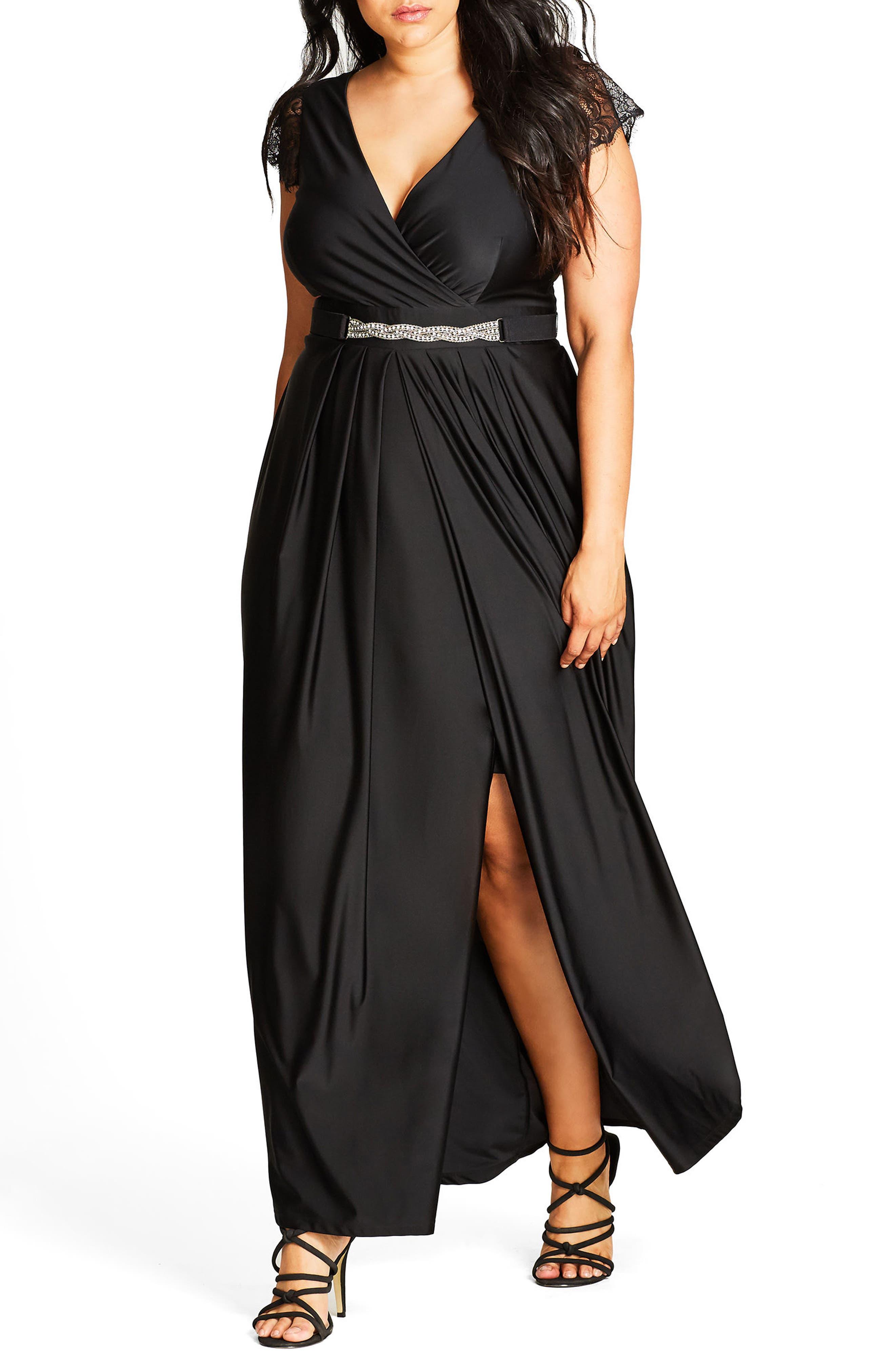 CITY CHIC, Flirty Drape Maxi Dress, Main thumbnail 1, color, BLACK