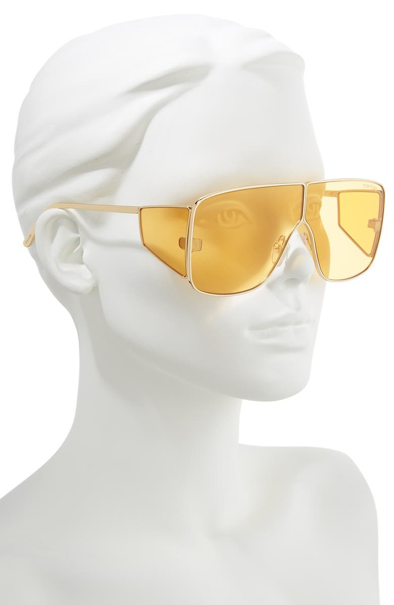 63310f994551c Tom Ford Spector 72Mm Shield Sunglasses - Yellow Gold  Orange