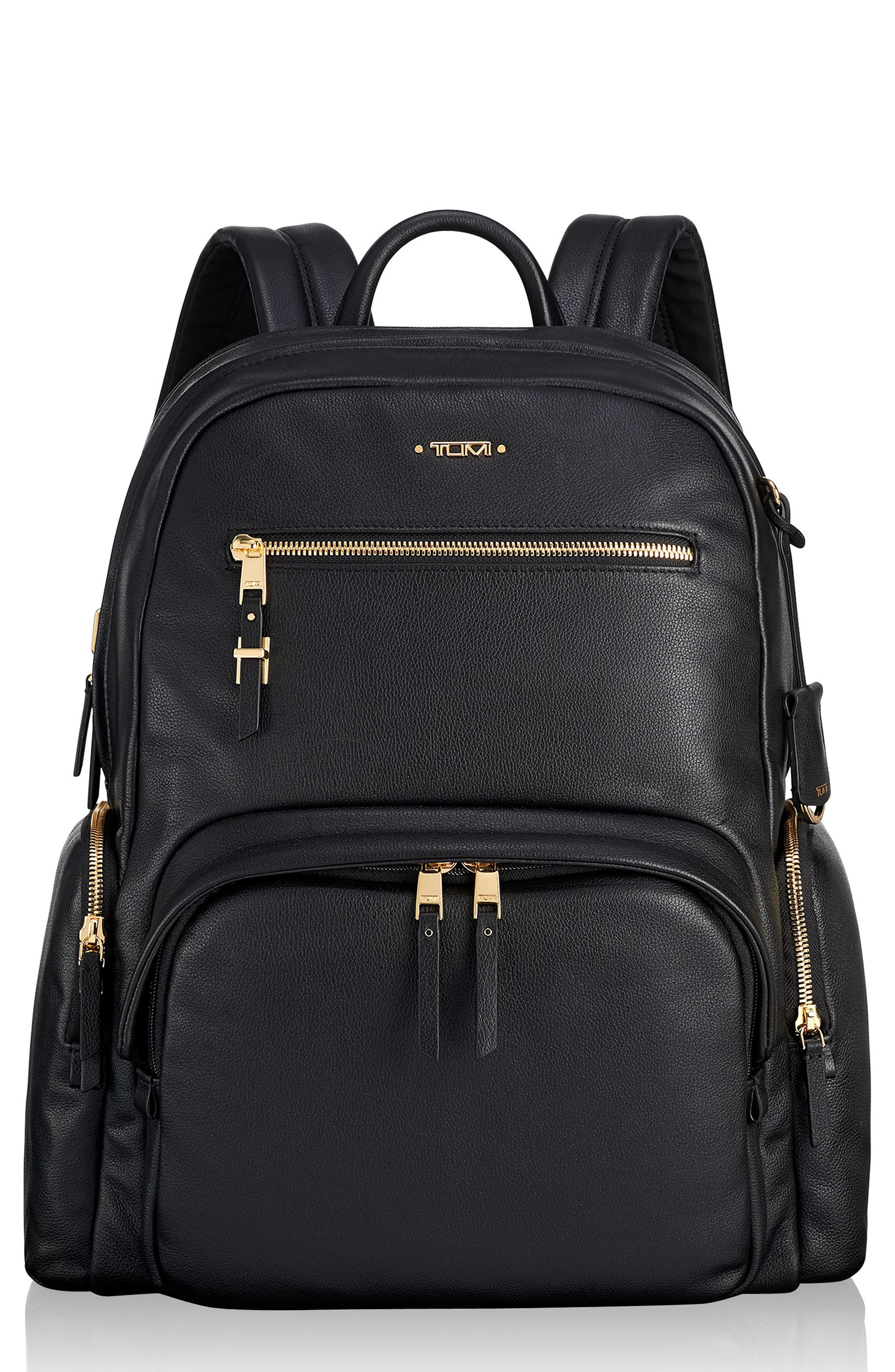 TUMI, Voyageur Carson Leather Backpack, Main thumbnail 1, color, BLACK
