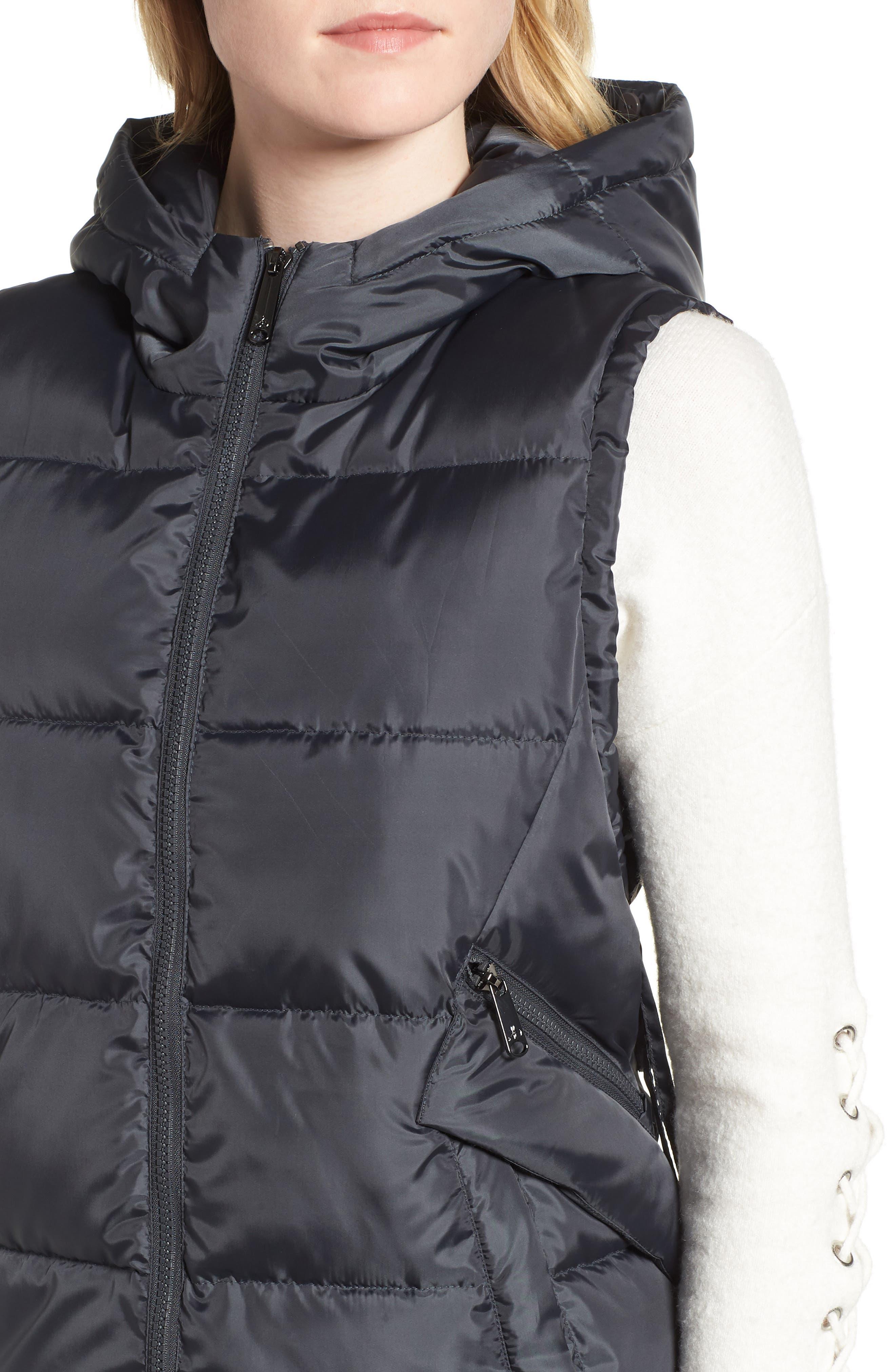 SAM EDELMAN, Faux Fur Trim Hooded Side-Tie Vest, Alternate thumbnail 5, color, 036