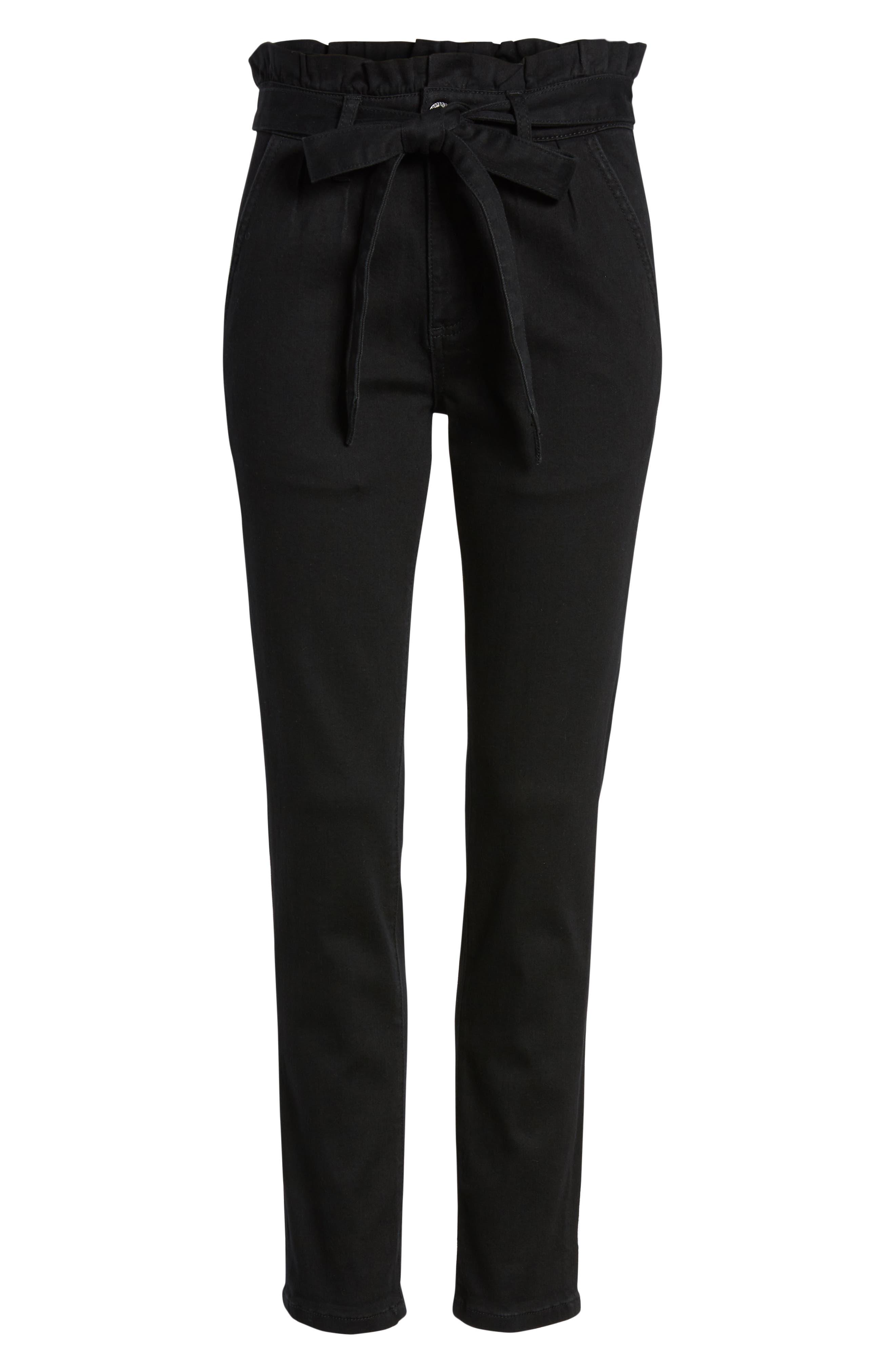 PROSPERITY DENIM, Paperbag Waist Skinny Jeans, Alternate thumbnail 7, color, BLACK