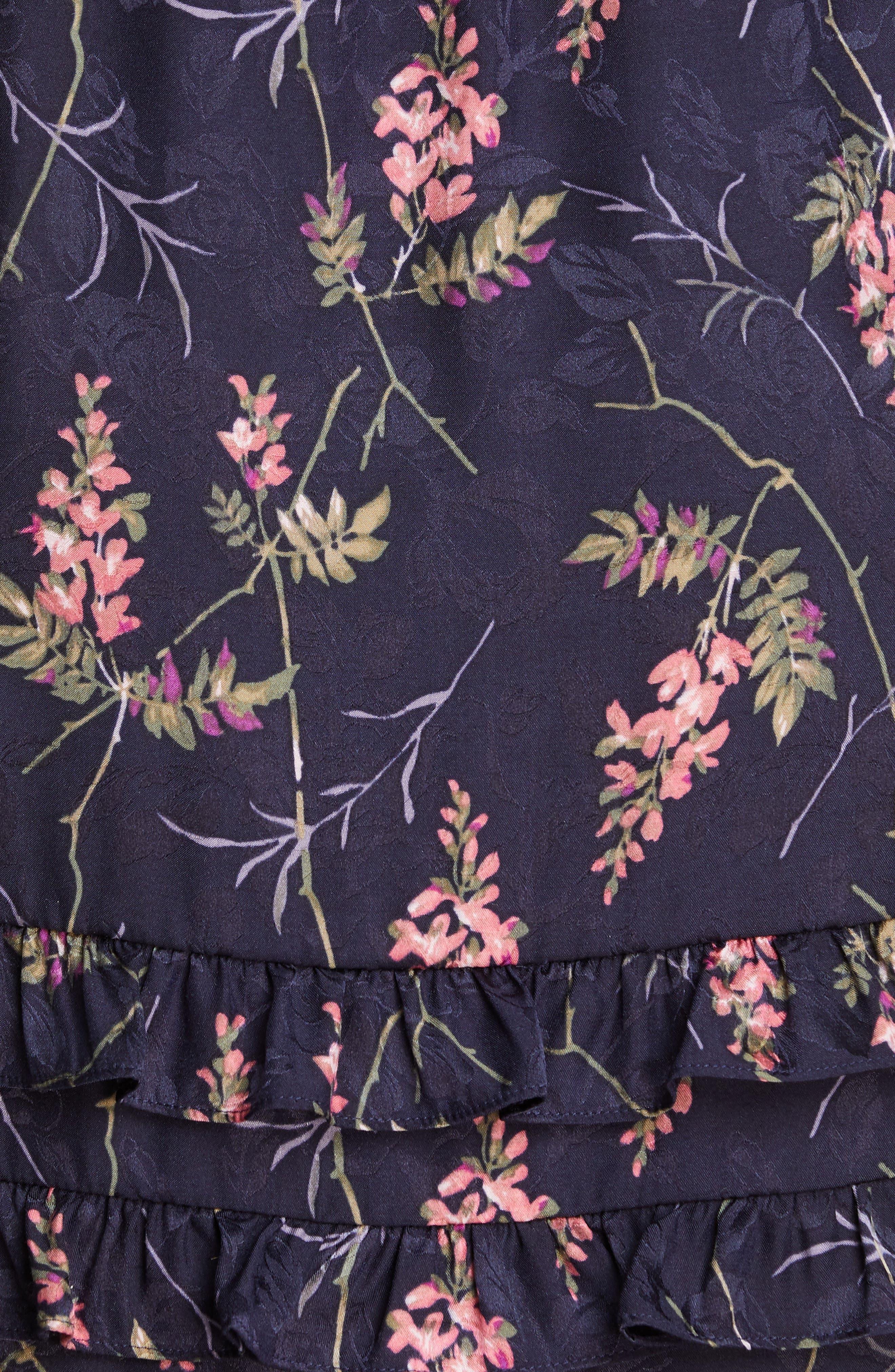 REBECCA TAYLOR, Ivie Floral Ruffle Silk Blend Dress, Alternate thumbnail 5, color, NAVY COMBO