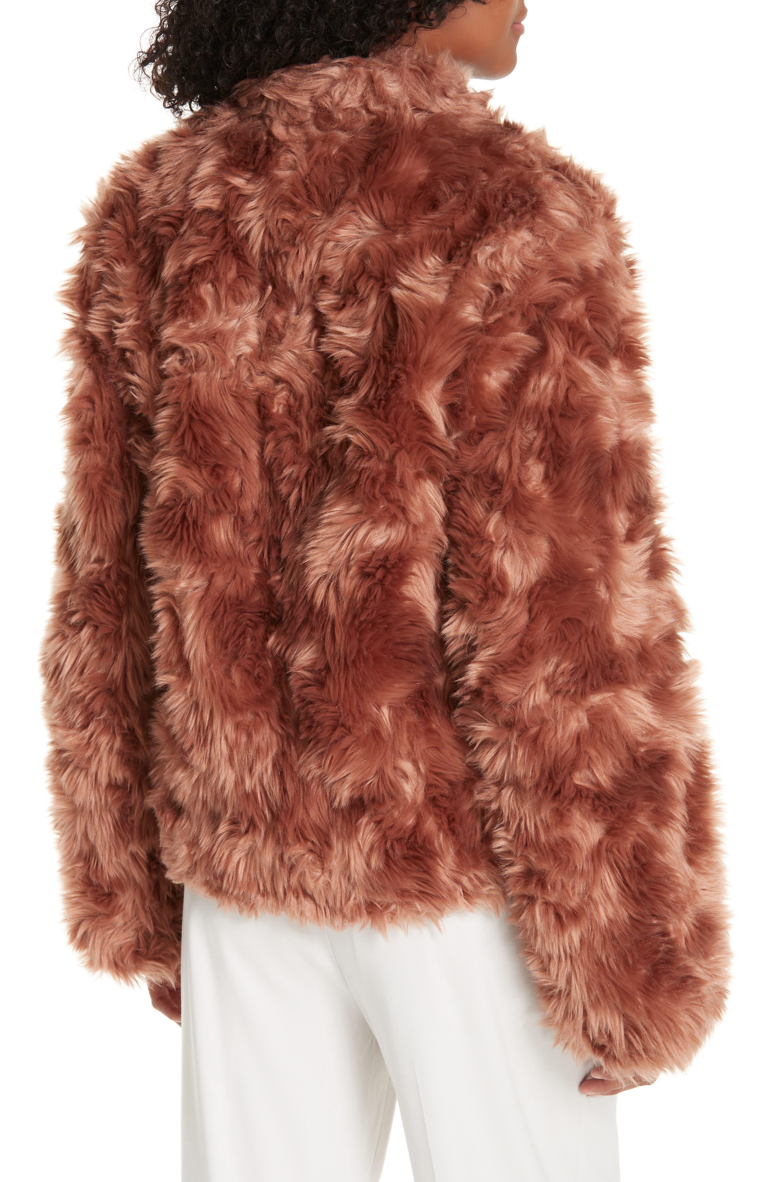 VINCE, Plush Faux Fur Jacket, Alternate thumbnail 2, color, PINK UMBER