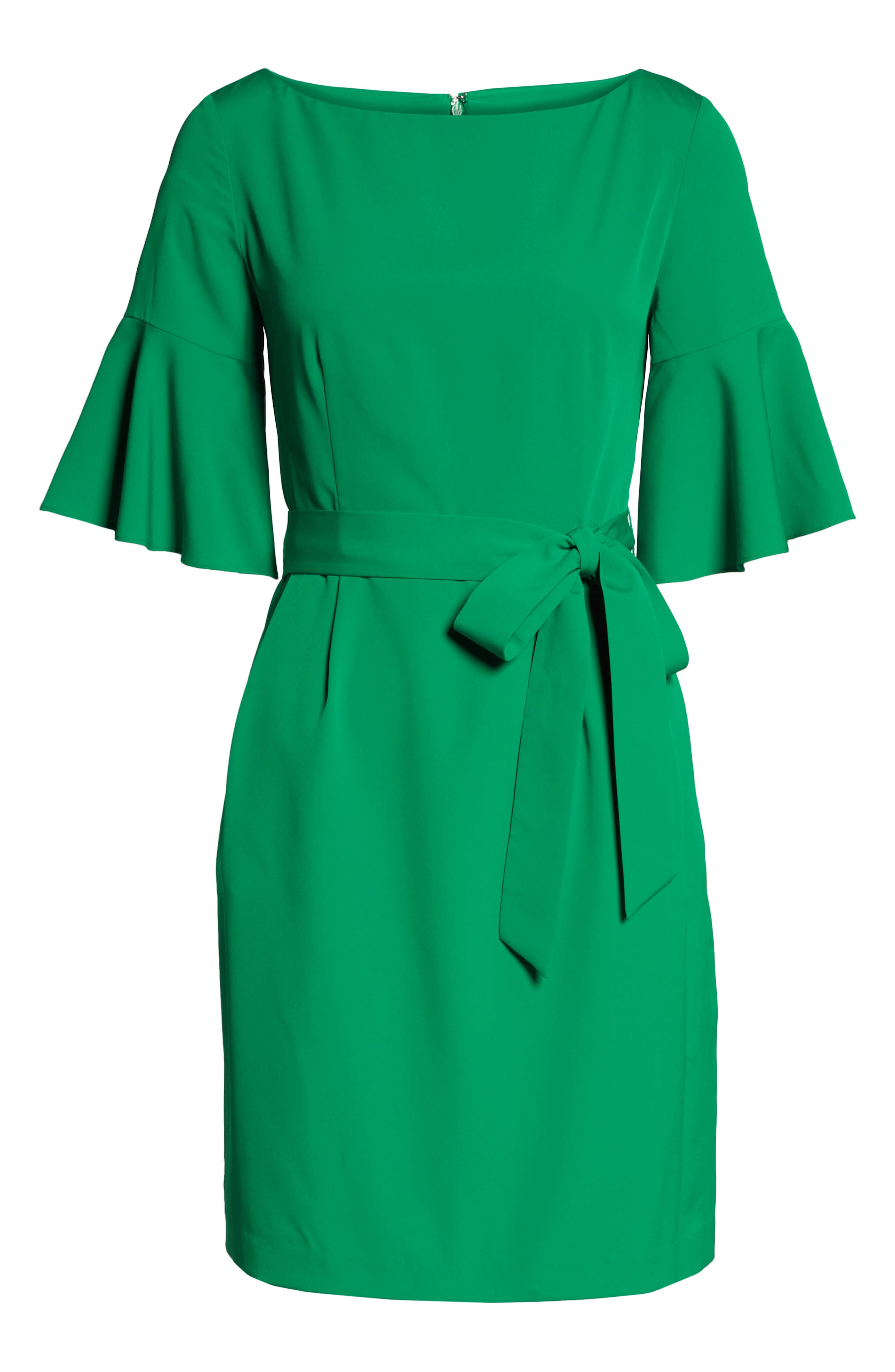 ELIZA J, Bell Sleeve Sheath Dress, Alternate thumbnail 8, color, GREEN