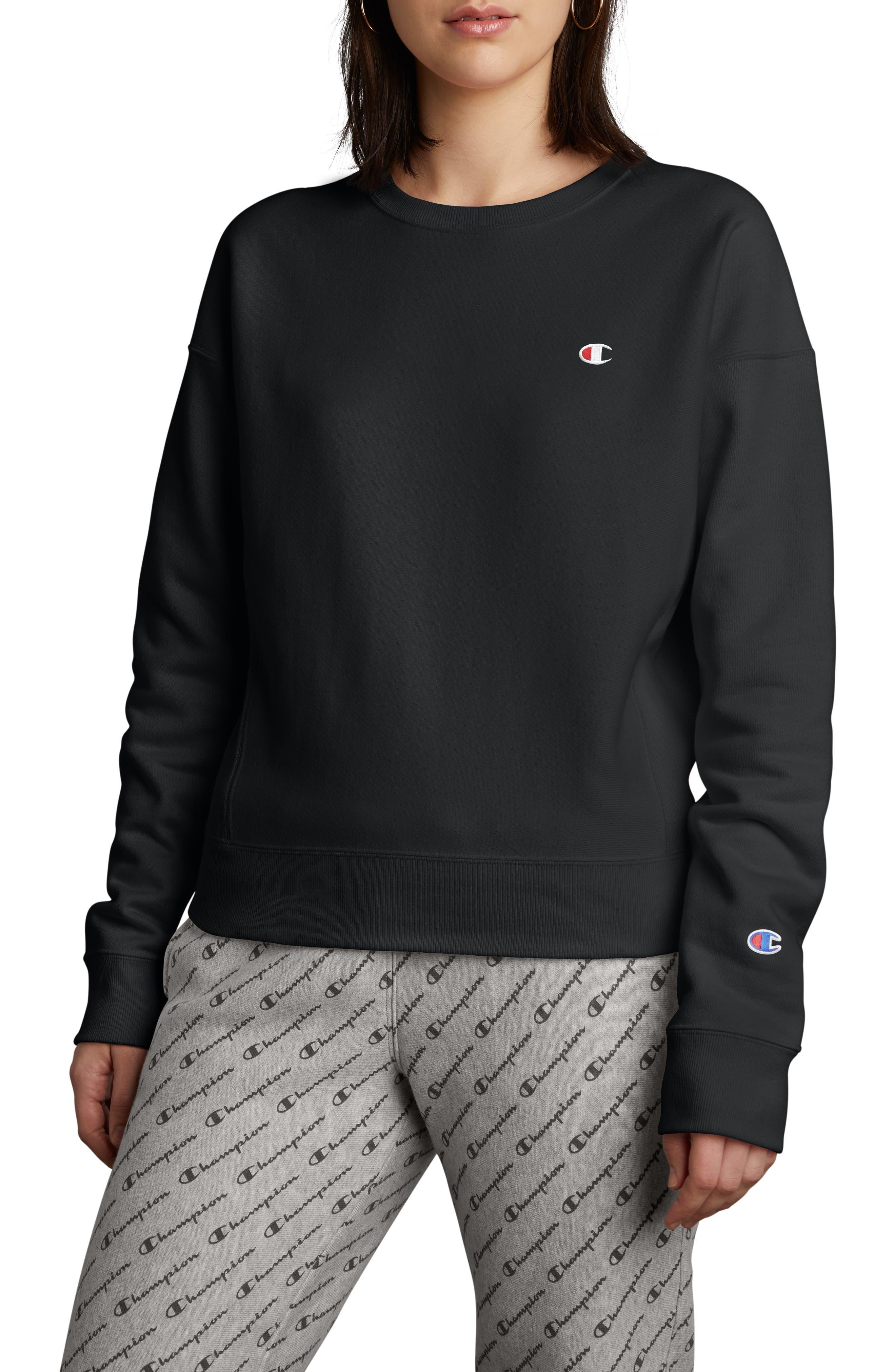 CHAMPION, Reverse Weave Sweatshirt, Main thumbnail 1, color, BLACK