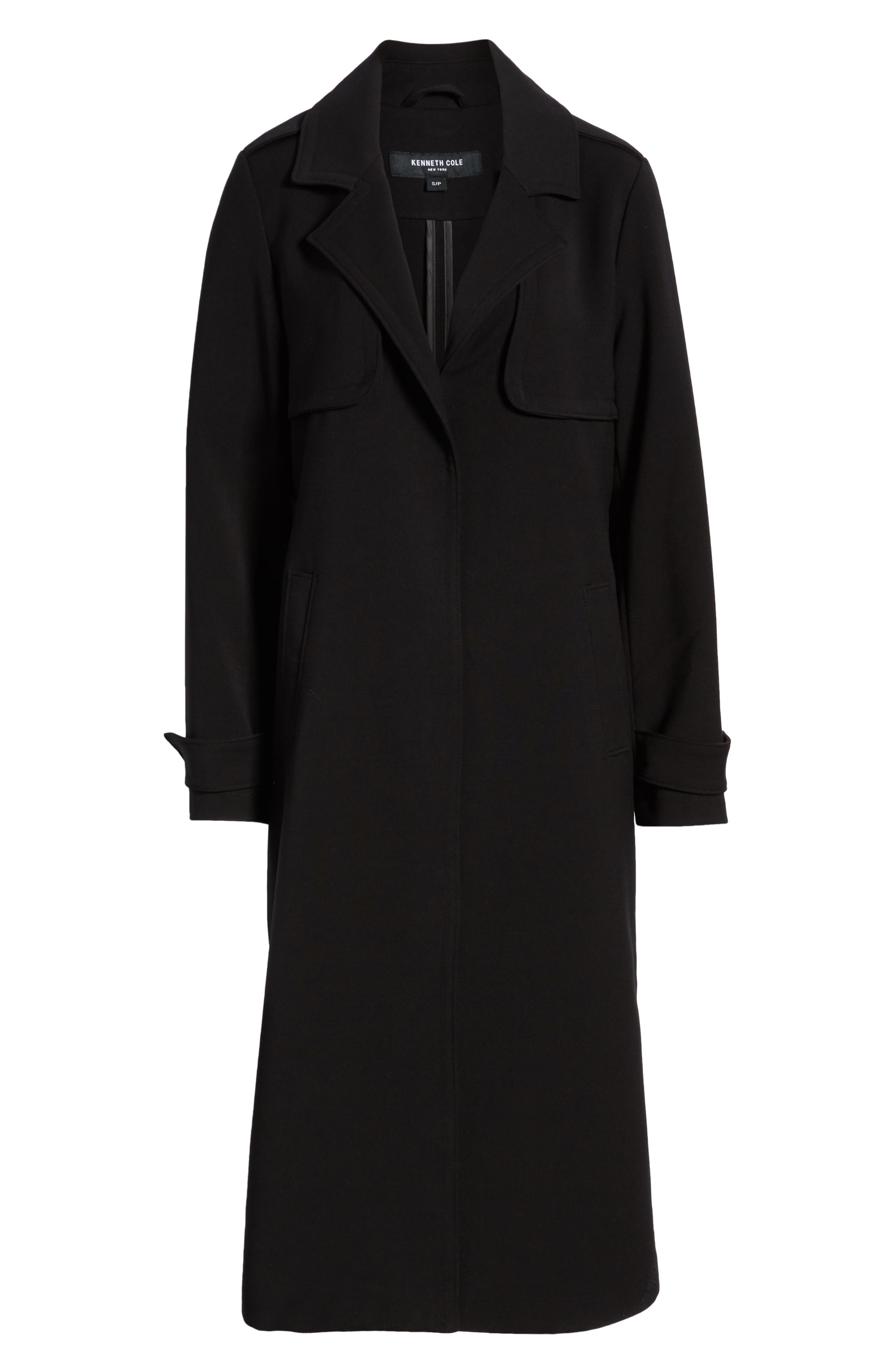 KENNETH COLE NEW YORK, Ponte Trench Coat, Alternate thumbnail 6, color, BLACK
