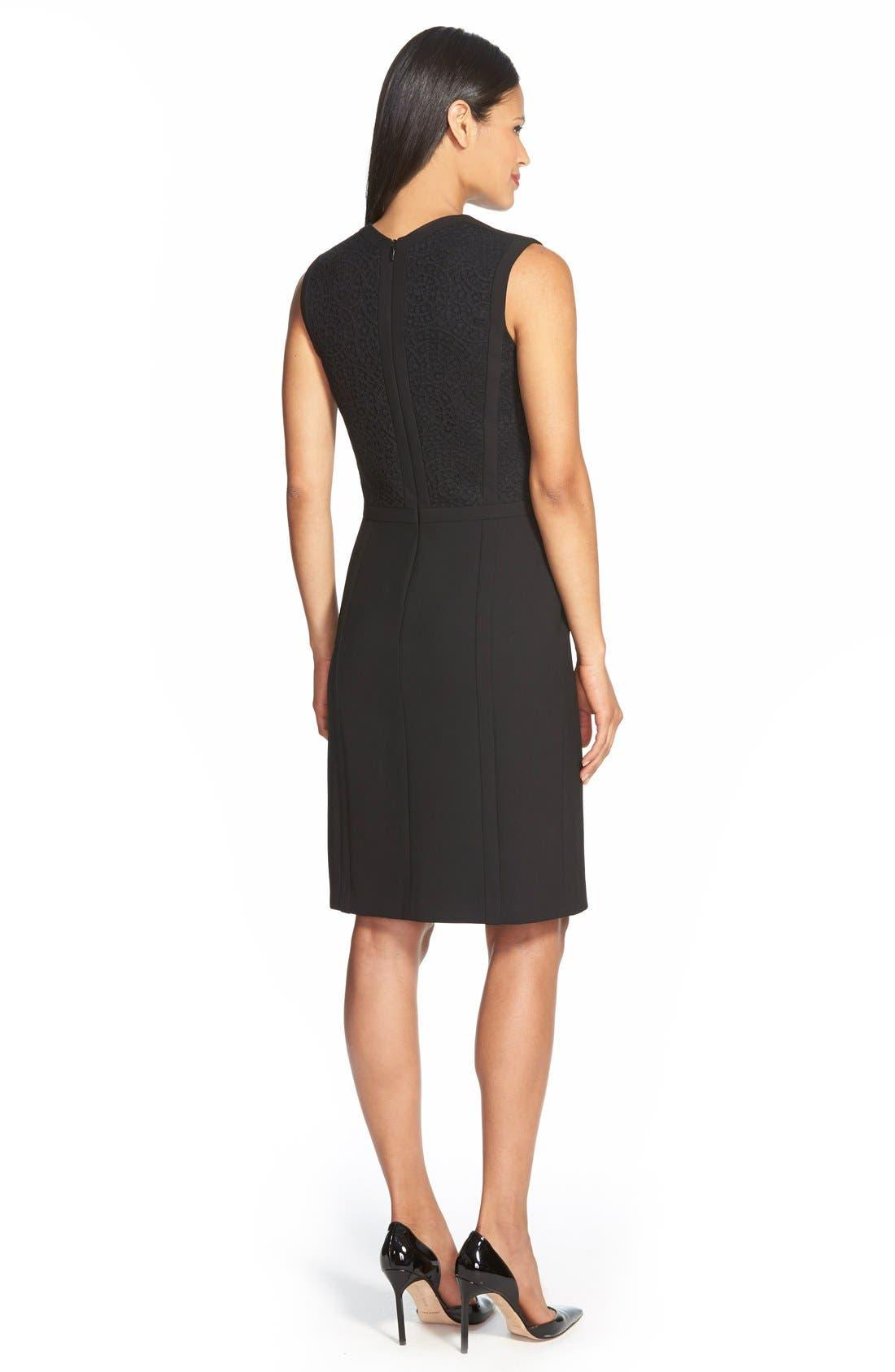 BOSS, 'Dilama' Paneled Mixed Media V-Neck Sheath Dress, Alternate thumbnail 2, color, 002