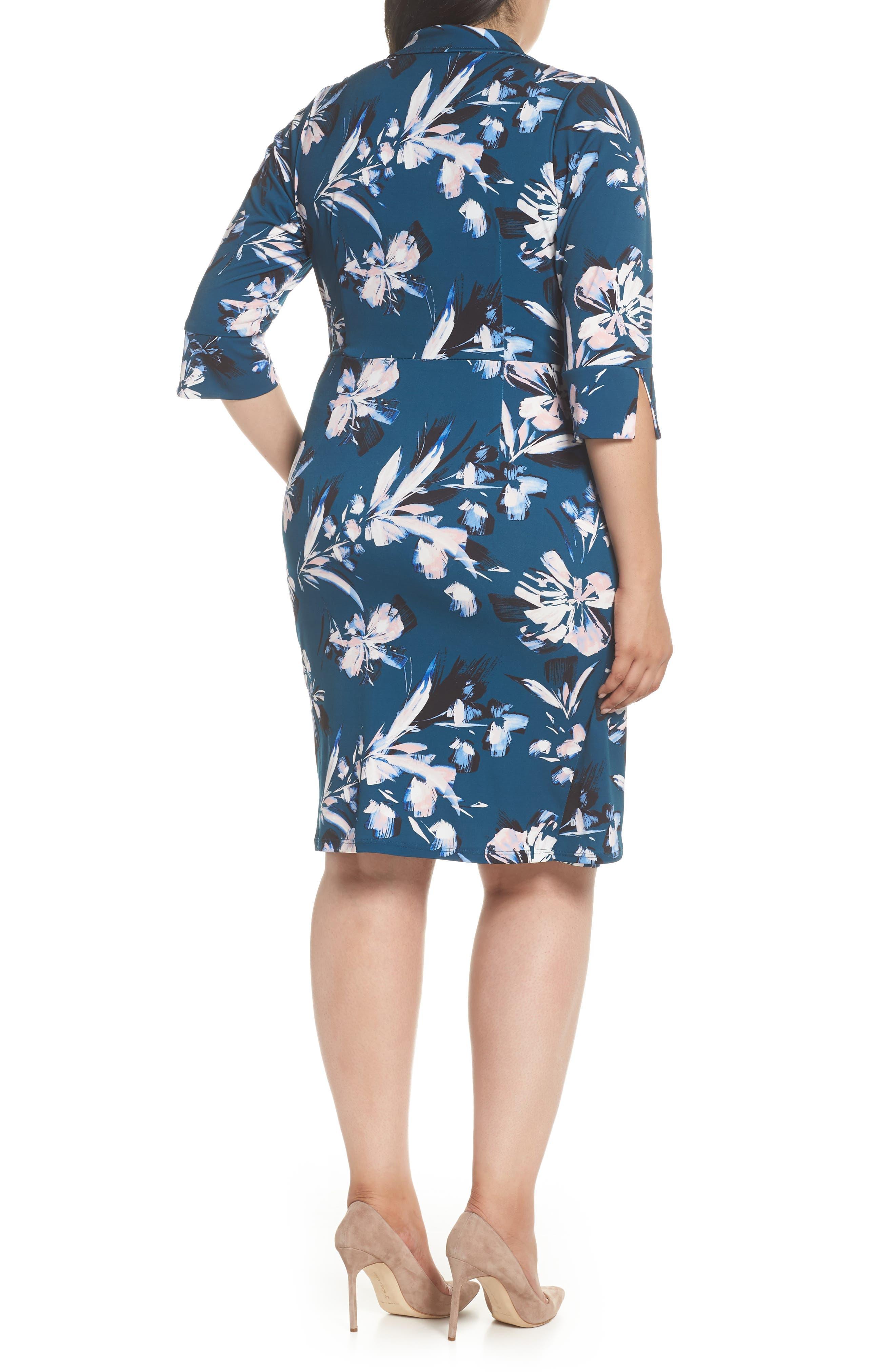 ELIZA J, Faux Wrap Floral Shirtdress, Alternate thumbnail 2, color, GREEN