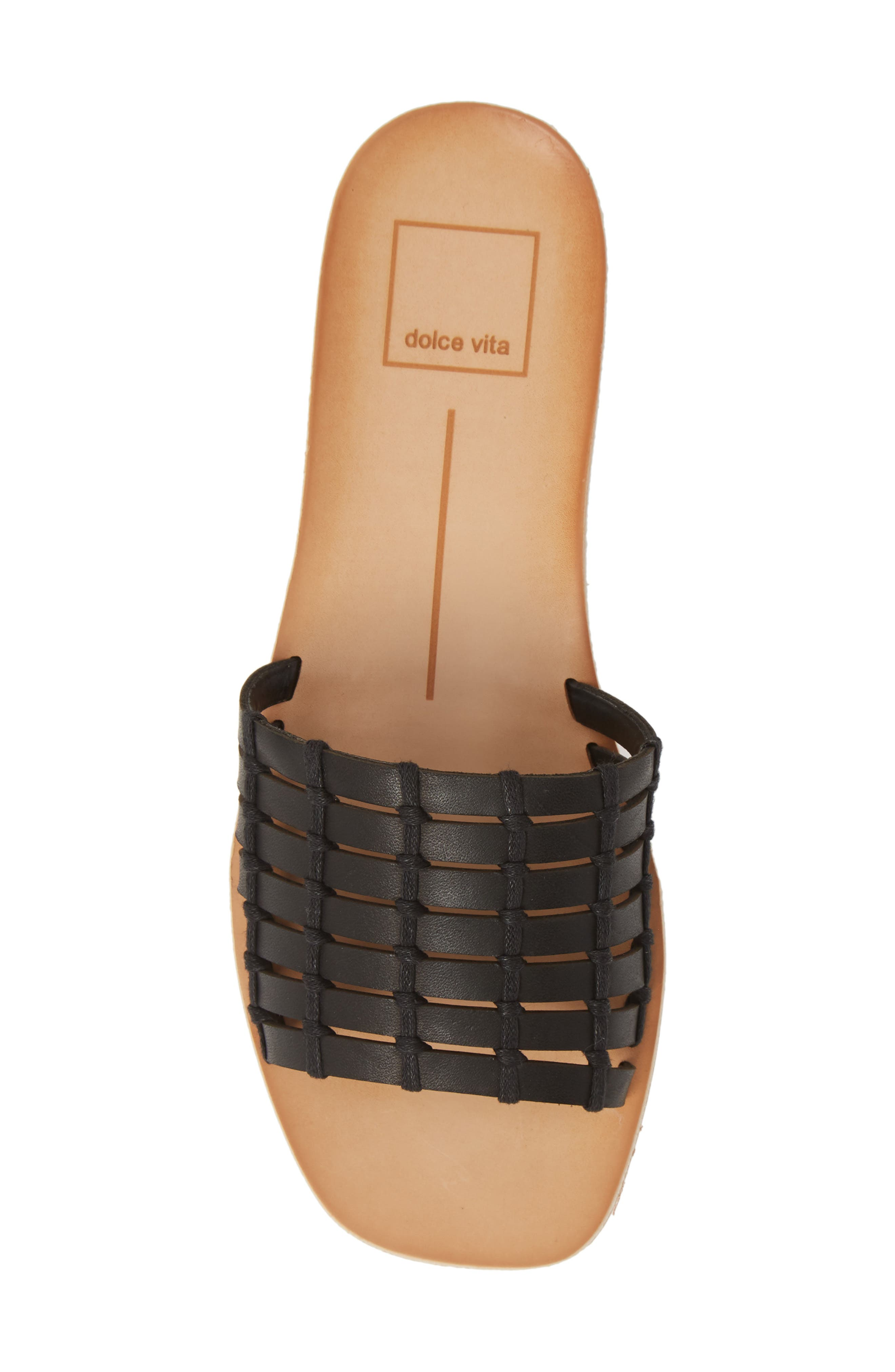 DOLCE VITA, Colsen Slide Sandal, Alternate thumbnail 5, color, BLACK LEATHER