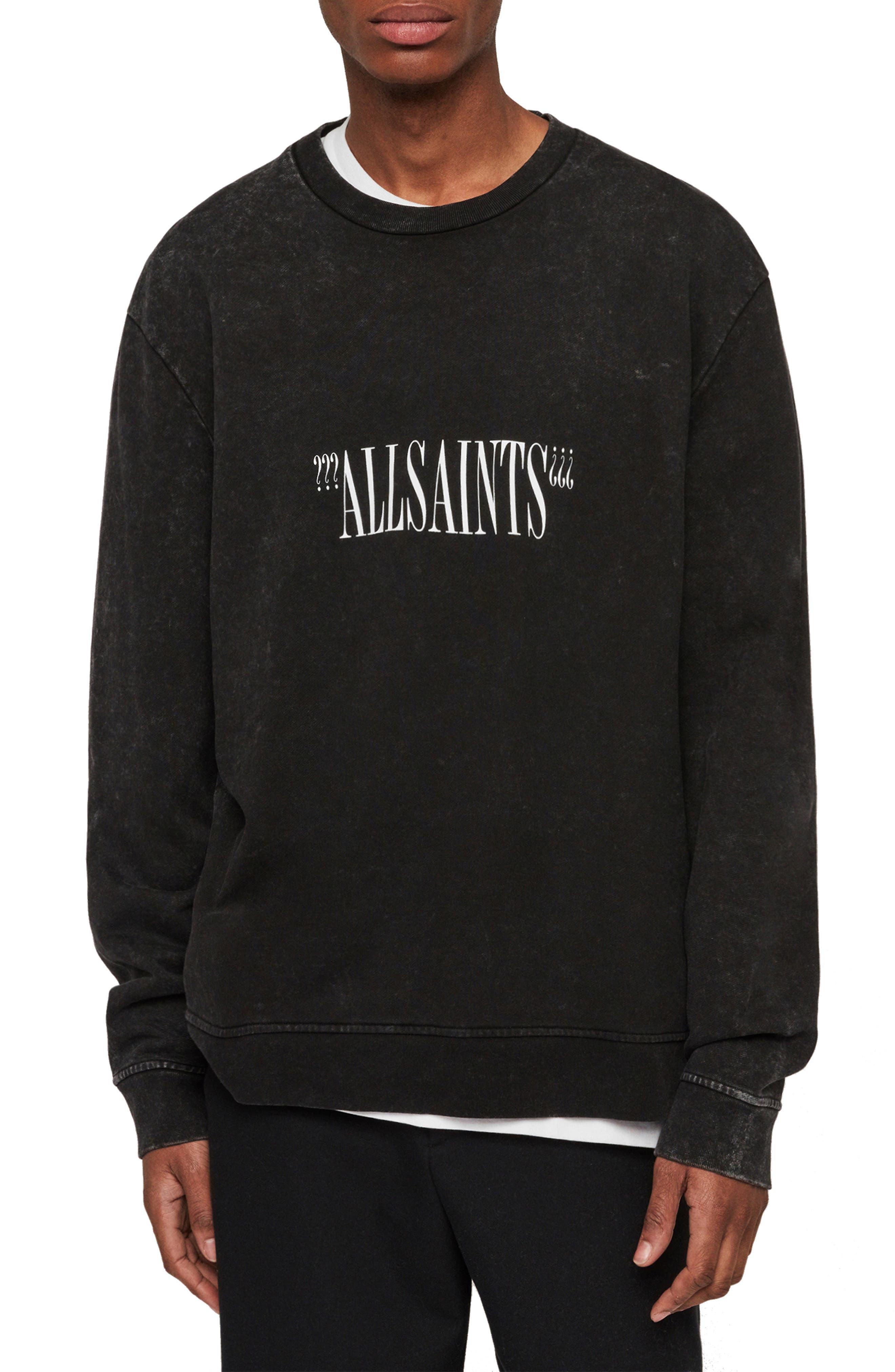 ALLSAINTS Brackets Logo Graphic Fleece Sweatshirt, Main, color, ACID WASHED BLACK