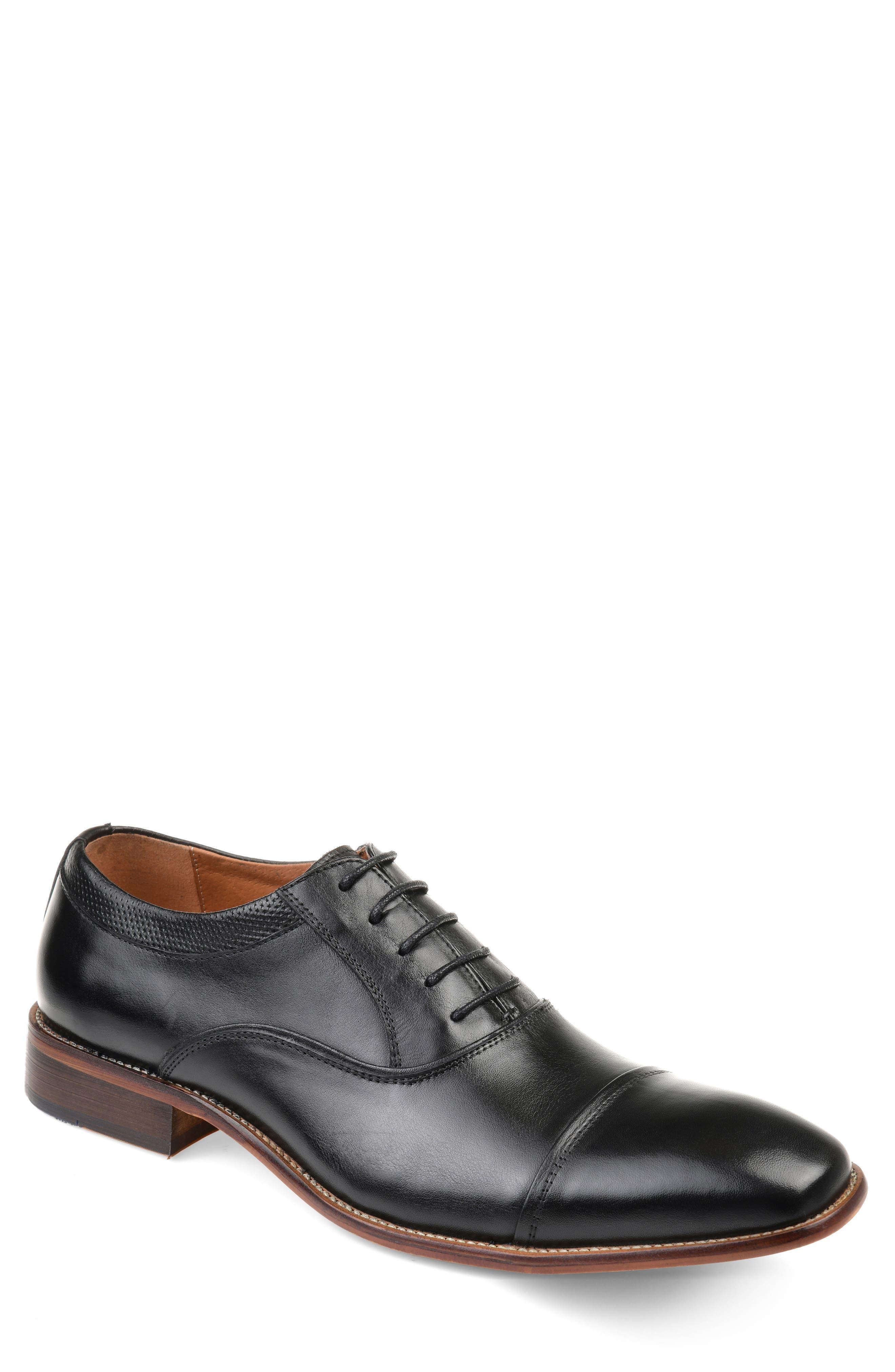 THOMAS AND VINE Keaton Cap Toe Oxford, Main, color, BLACK LEATHER