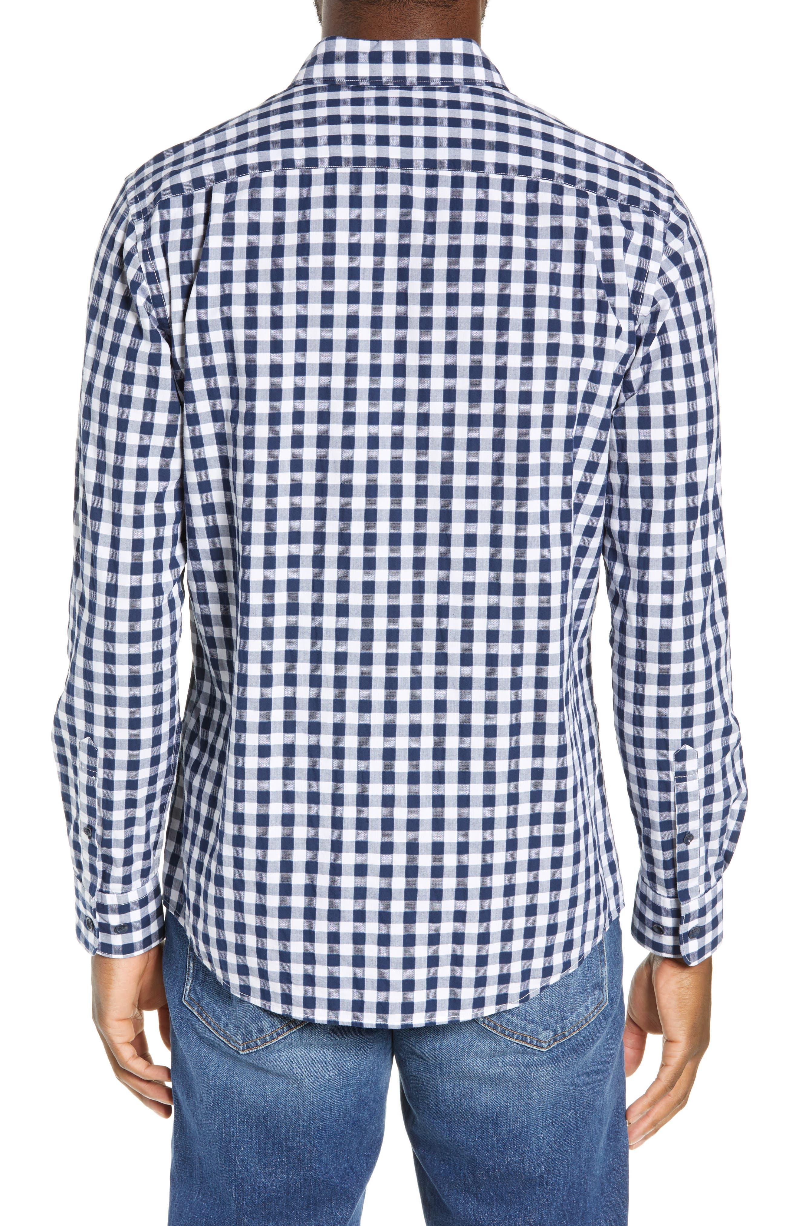 RODD & GUNN, Dixon Check Sport Shirt, Alternate thumbnail 3, color, NAVY