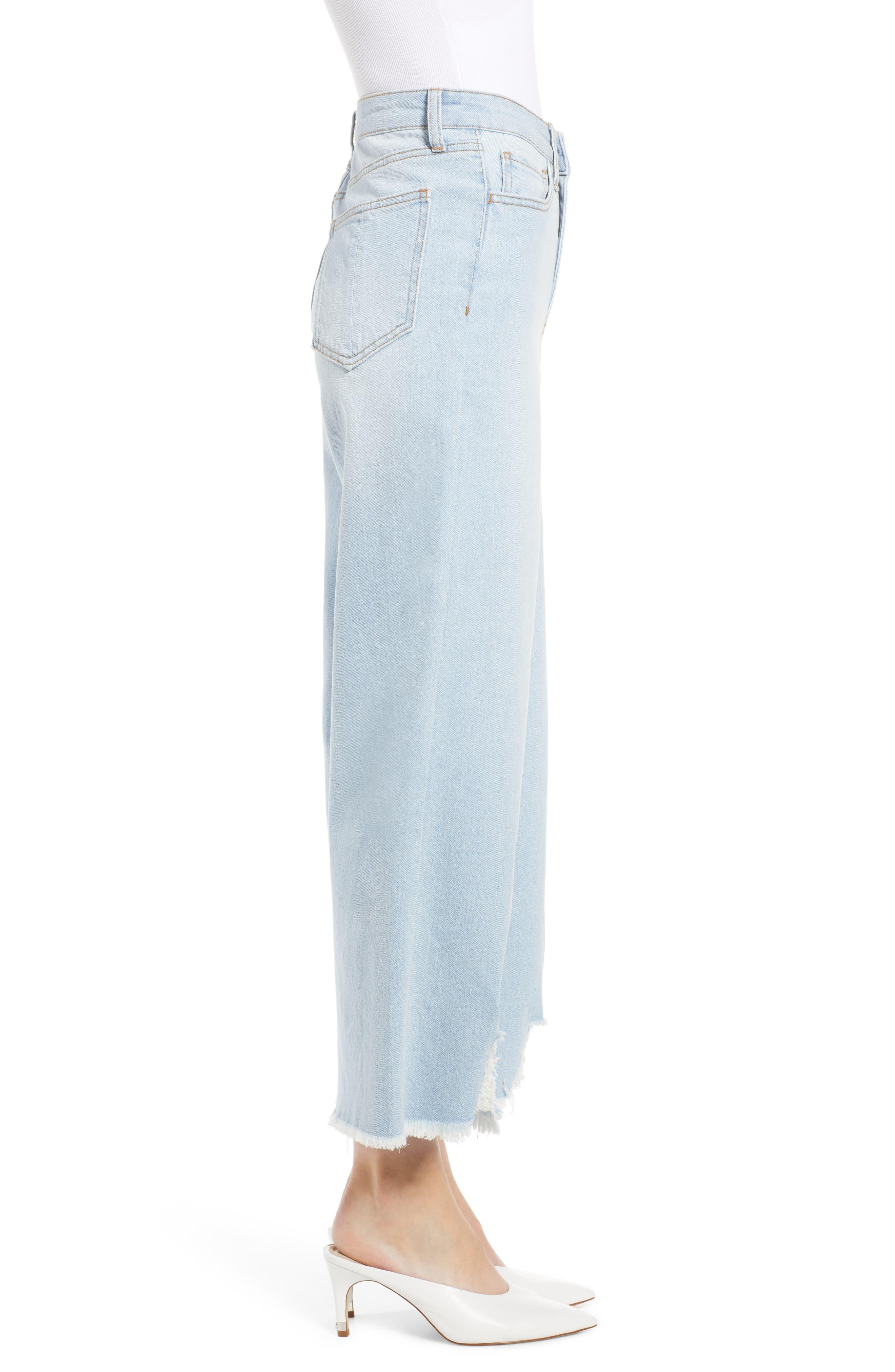 PROSPERITY DENIM, Fray Hem Wide Leg Crop Jeans, Alternate thumbnail 4, color, LIGHT WASH