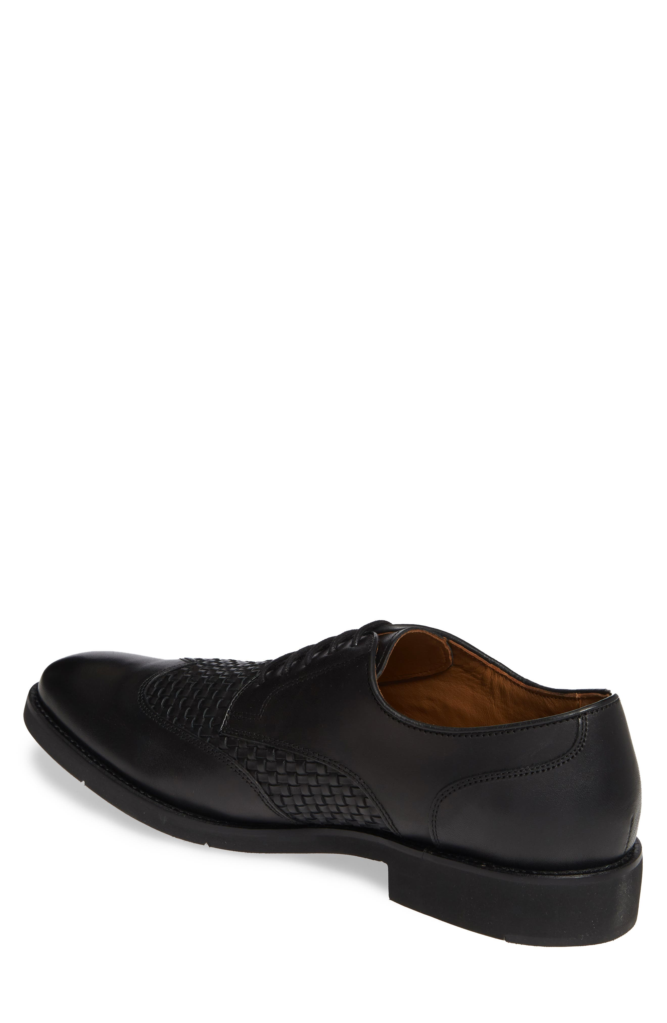 JOHNSTON & MURPHY, Carlson Woven Wingtip Derby, Alternate thumbnail 2, color, BLACK LEATHER