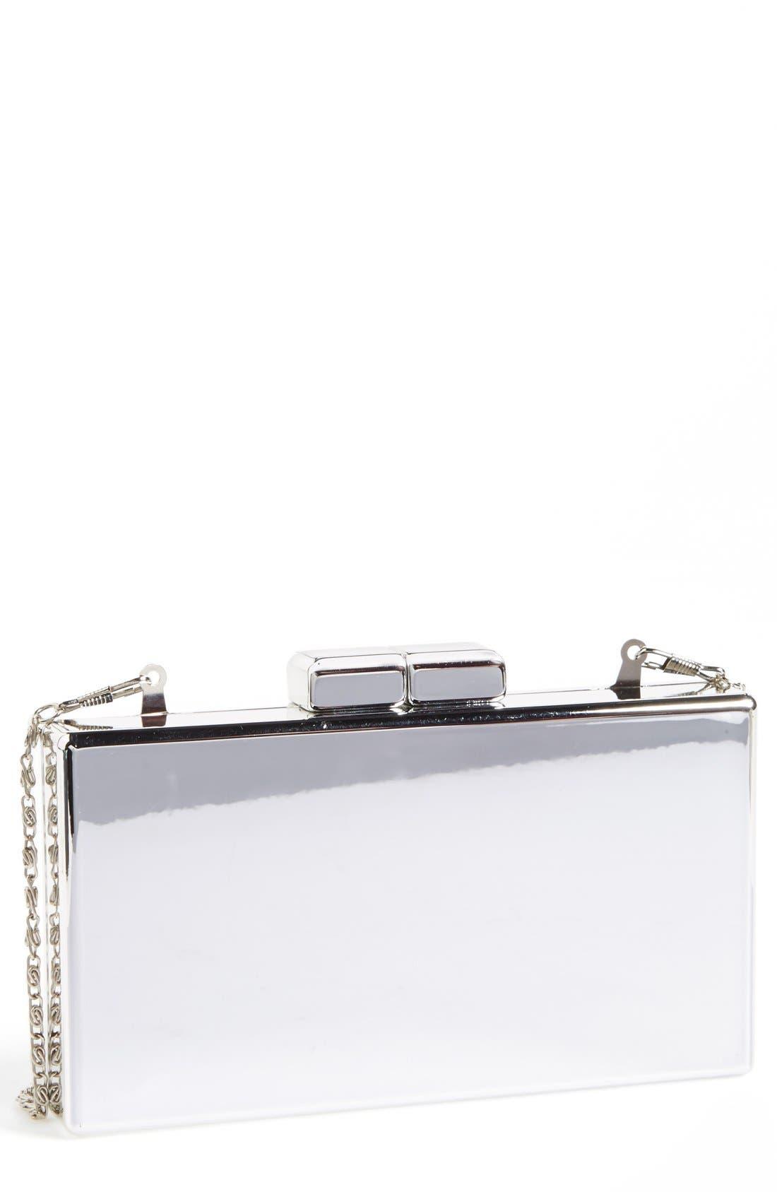 ZZDNU NATASHA COUTURE, Natasha Couture 'Metallic Mirror' Box Clutch, Main thumbnail 1, color, 040