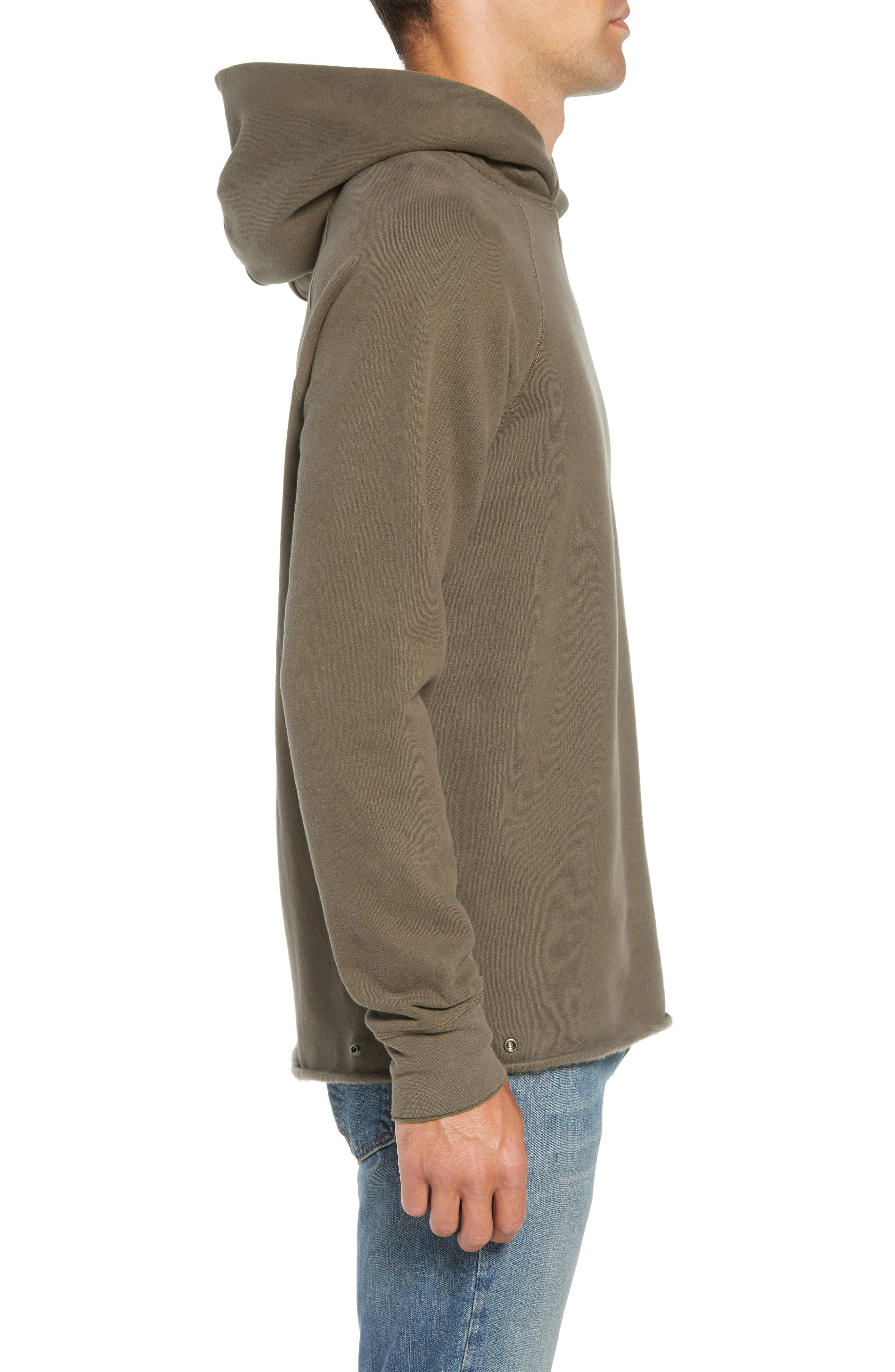 LEVI'S<SUP>®</SUP> MADE & CRAFTED<SUP>™</SUP>, Unhemmed Regular Fit Hoodie, Alternate thumbnail 3, color, 300