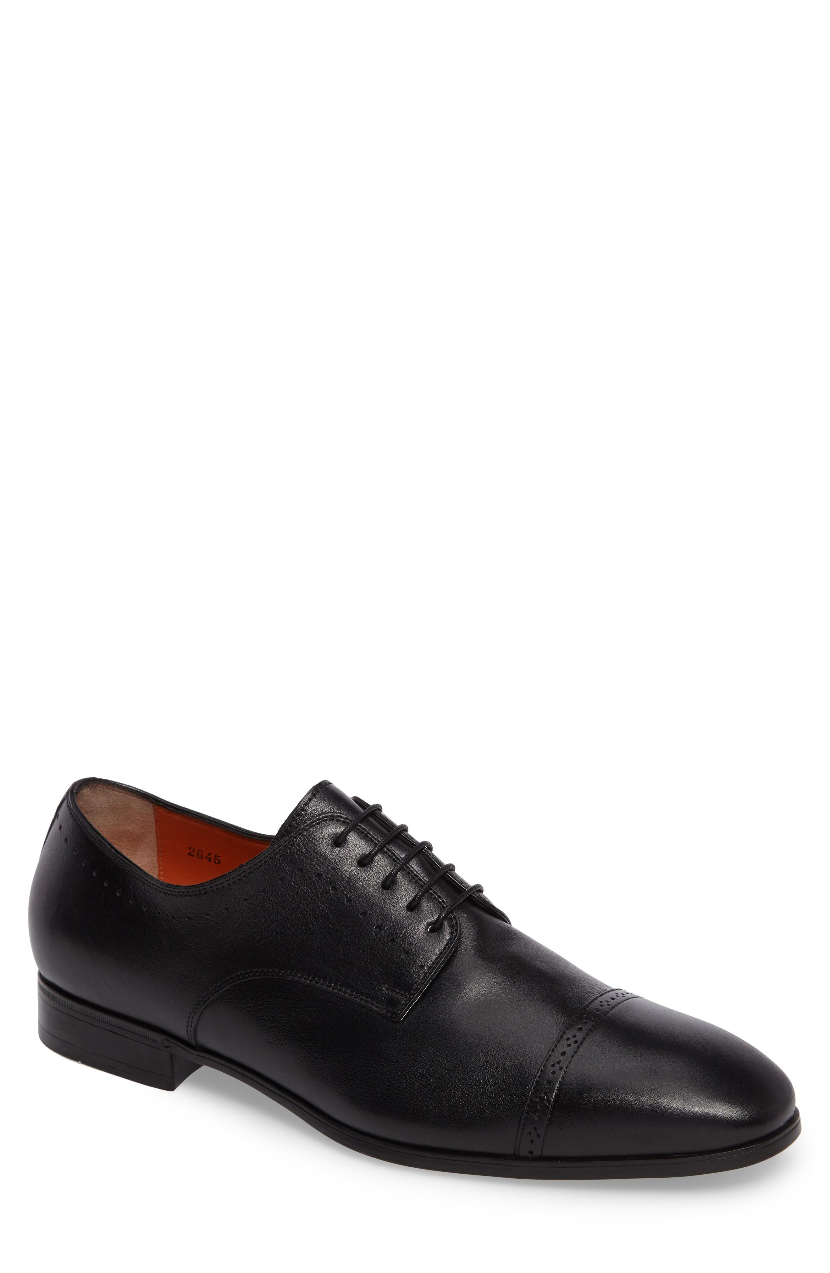 SANTONI, Gareth Cap Toe Derby, Main thumbnail 1, color, BLACK LEATHER